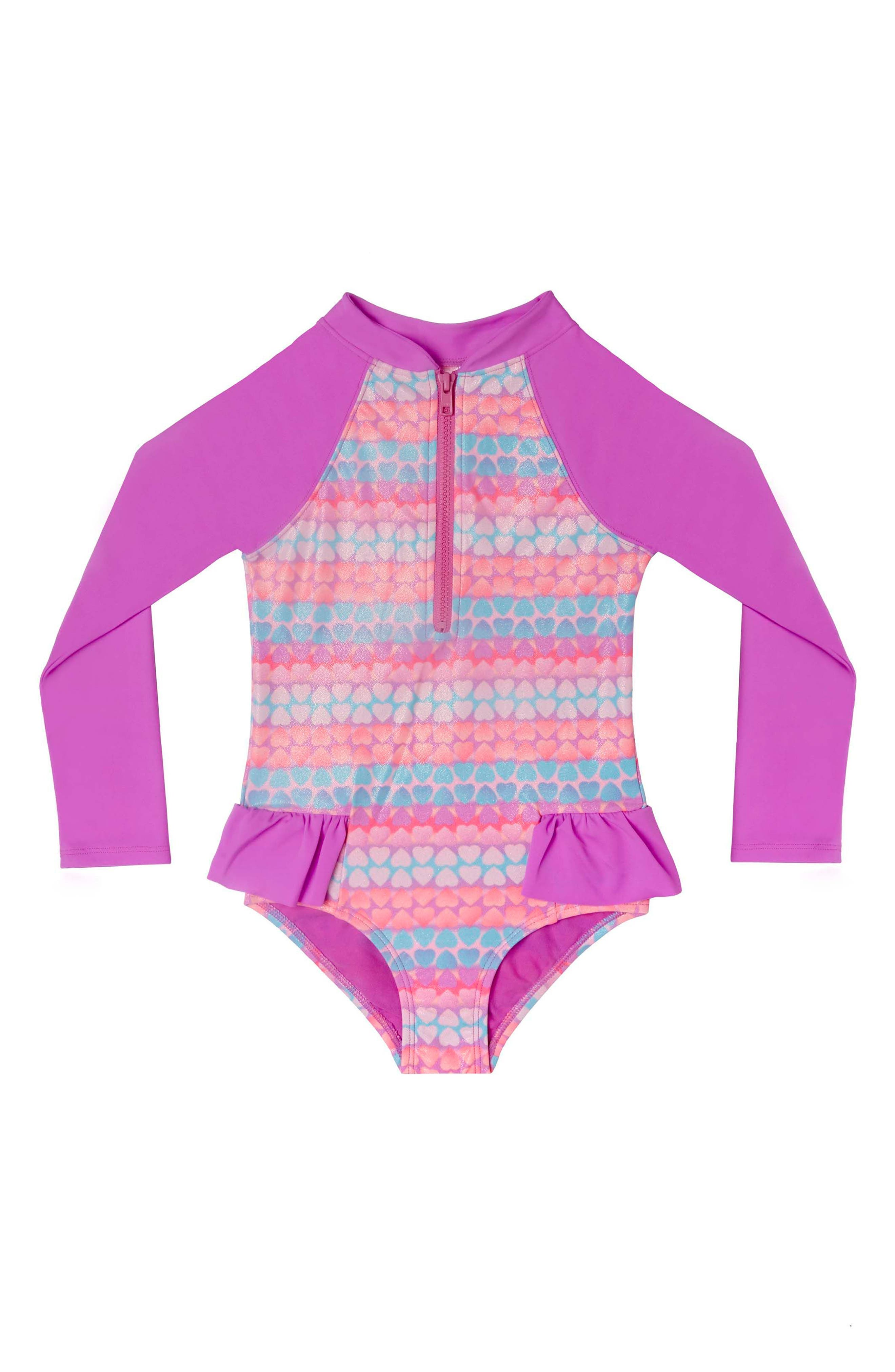 Hearts Galore One-Piece Rashguard Swimsuit,                             Main thumbnail 1, color,                             Purple Multi