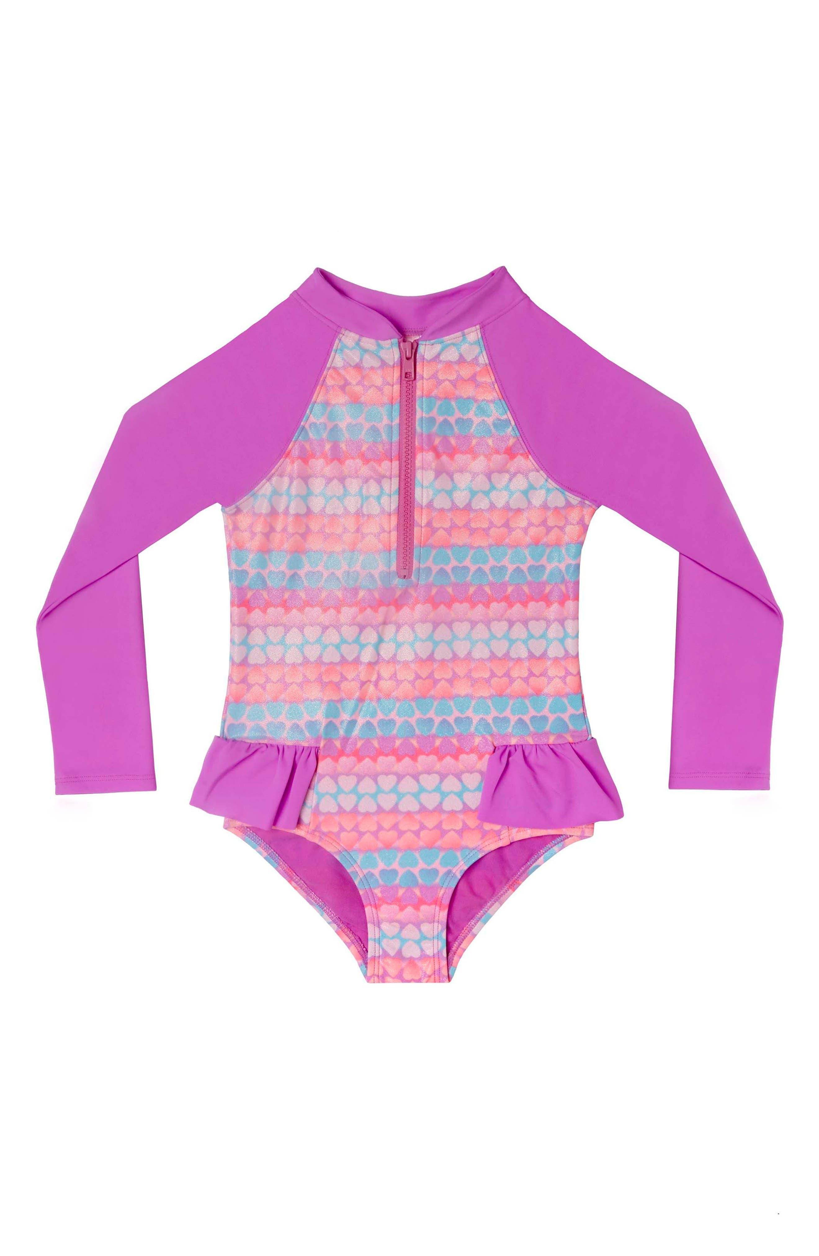 Hearts Galore One-Piece Rashguard Swimsuit,                         Main,                         color, Purple Multi