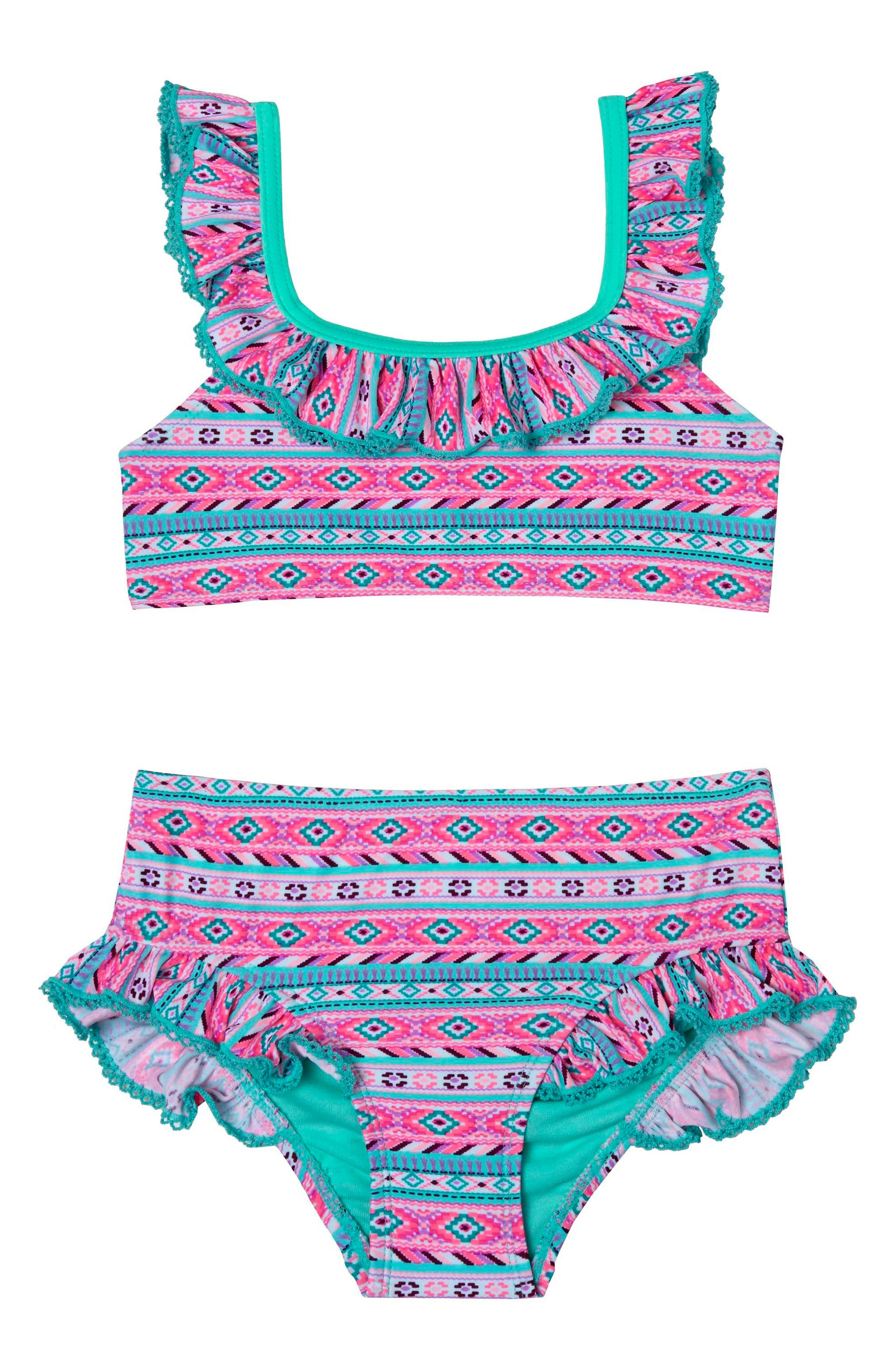 BFF Two-Piece Swimsuit,                         Main,                         color, Pink