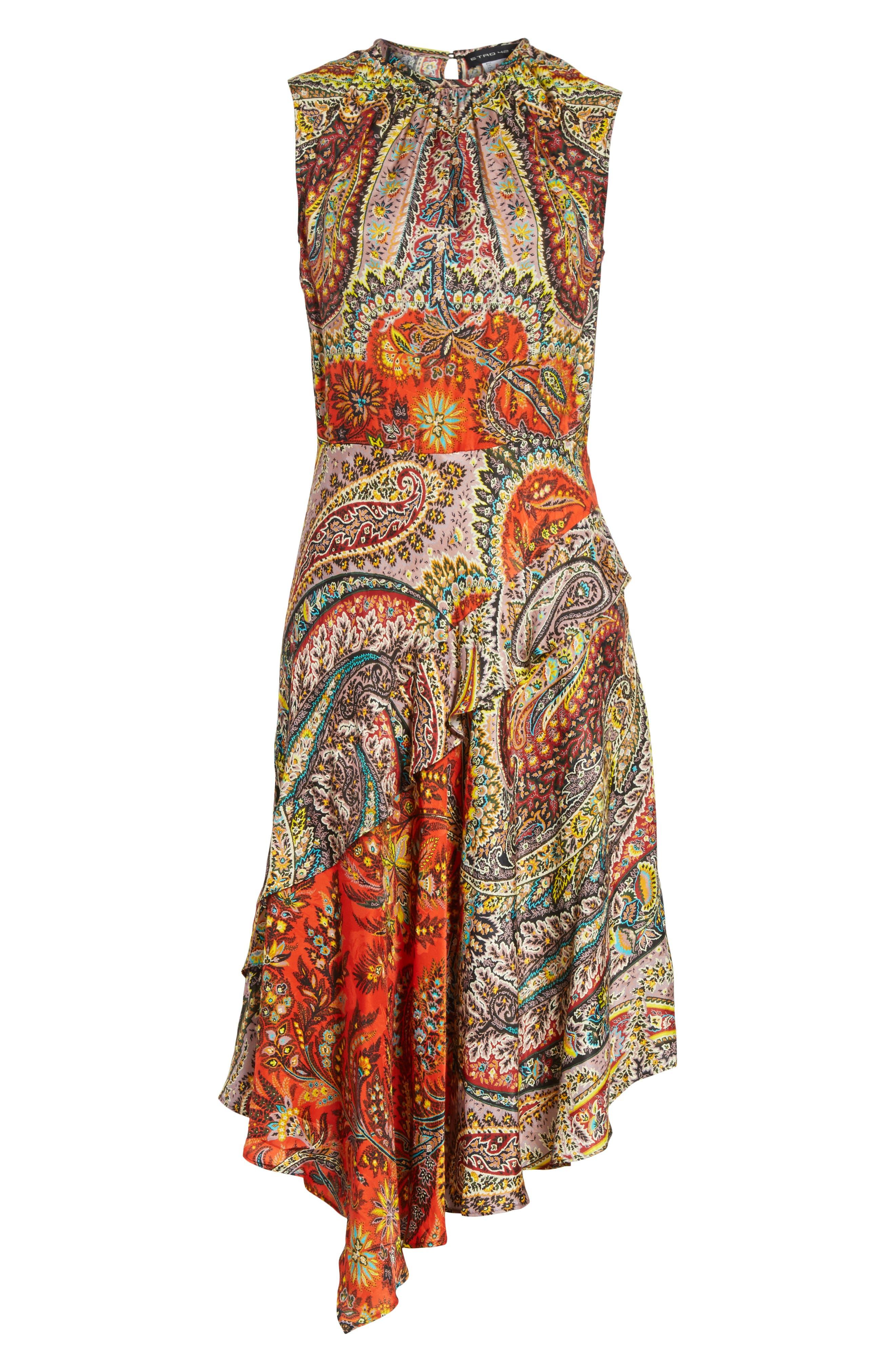 Paisley Print Asymmetrical Dress,                             Alternate thumbnail 7, color,                             Red