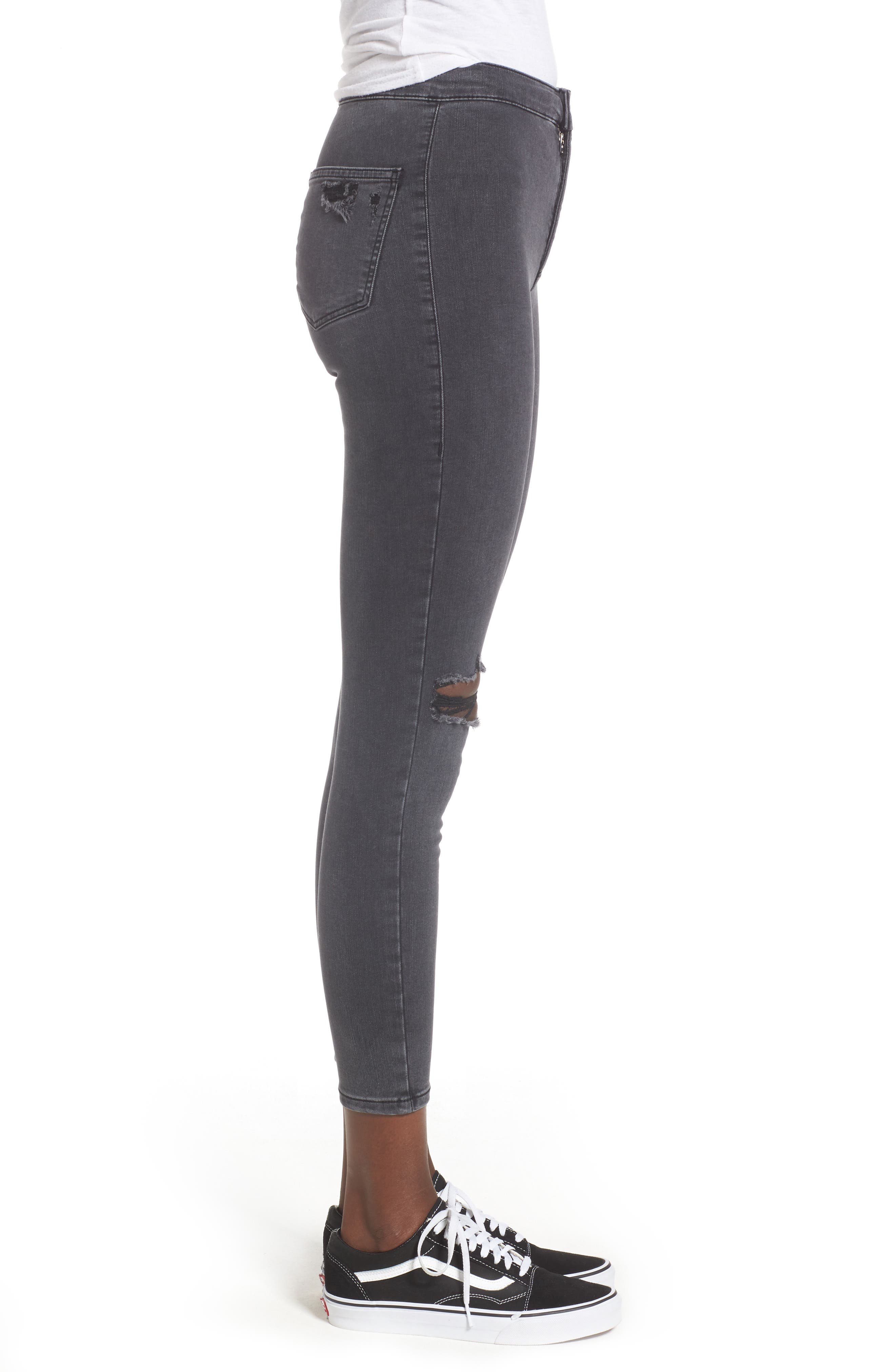 Joni Ripped Crop Skinny Jeans,                             Alternate thumbnail 3, color,                             Washed Black