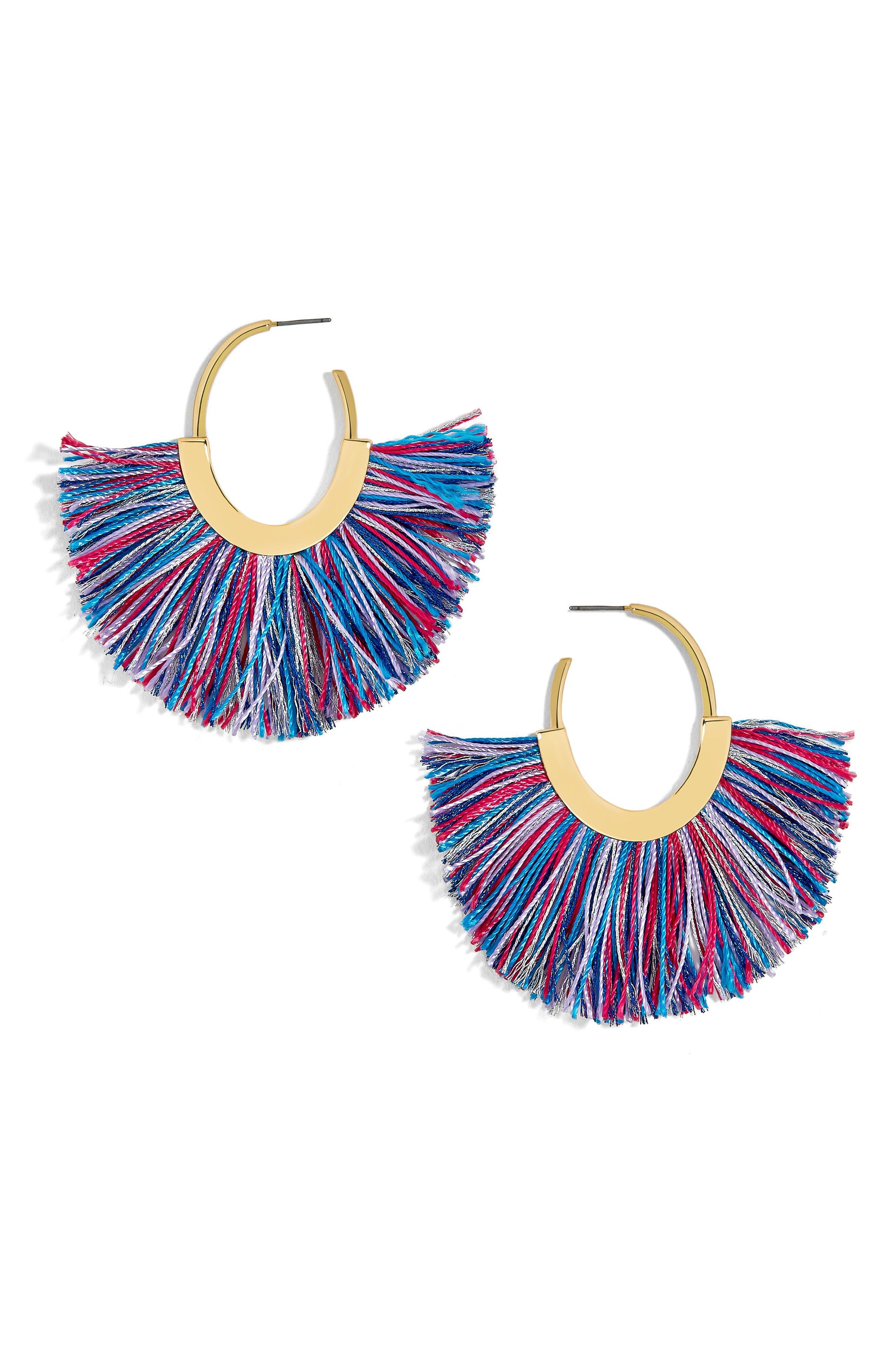Shani Hoop Earrings,                         Main,                         color, Multi/ Pink