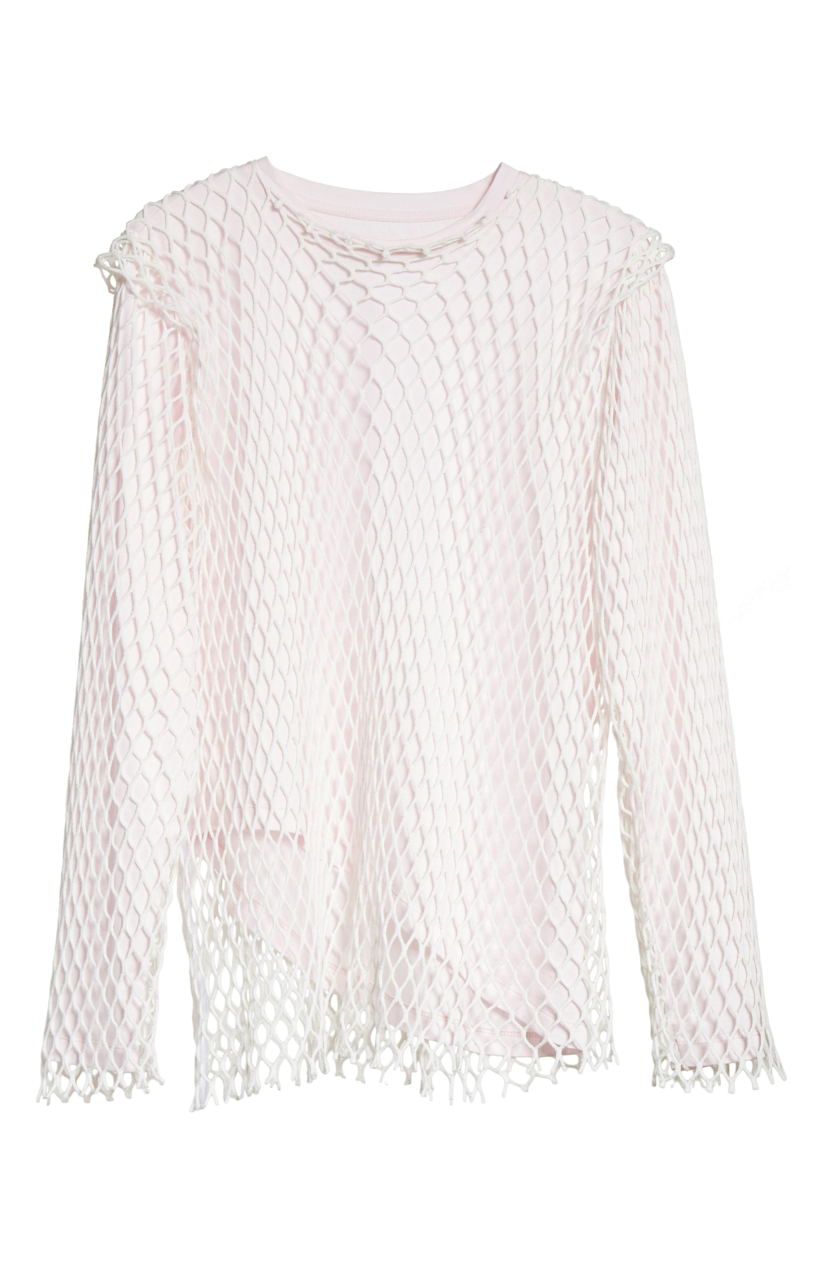 Marques'Almeida Net Jersey Top,                             Alternate thumbnail 5, color,                             Pale Pink