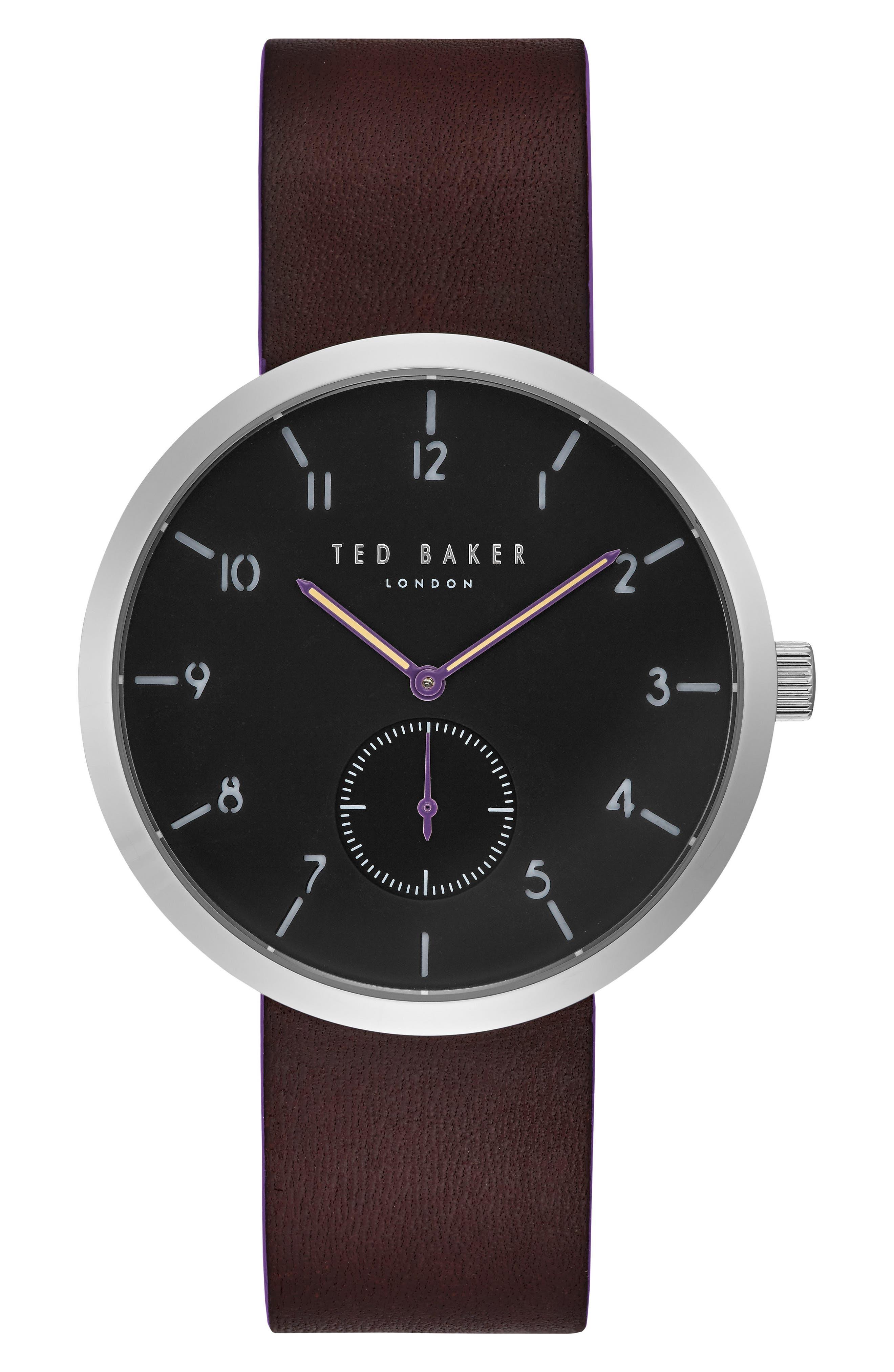 Josh Subeye Leather Strap Watch, 42mm,                             Main thumbnail 1, color,                             Grey/ Dark Brown