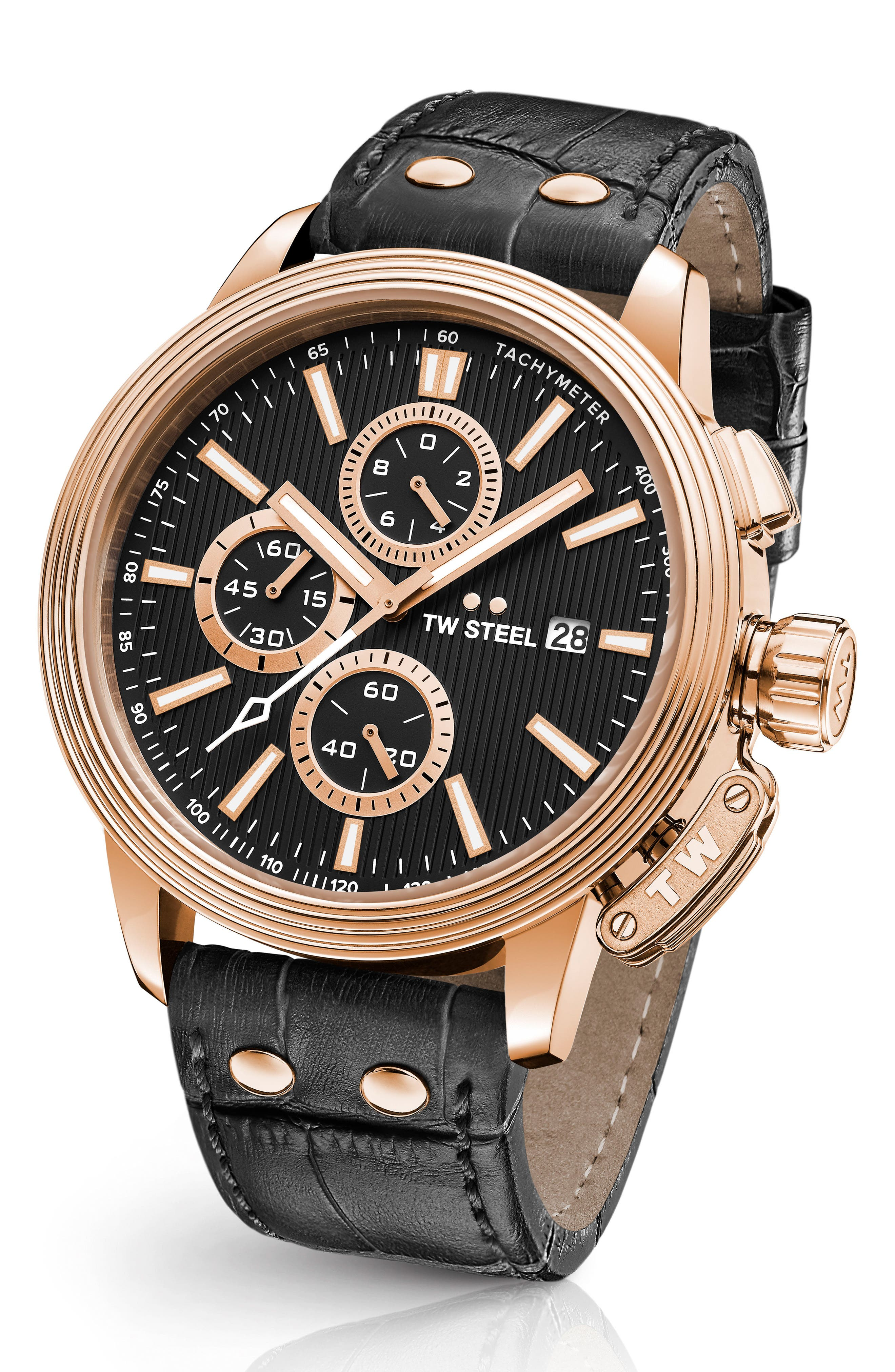 CEO Adesso Chronograph Leather Strap Watch, 48mm,                         Main,                         color, Black/ Rose Gold