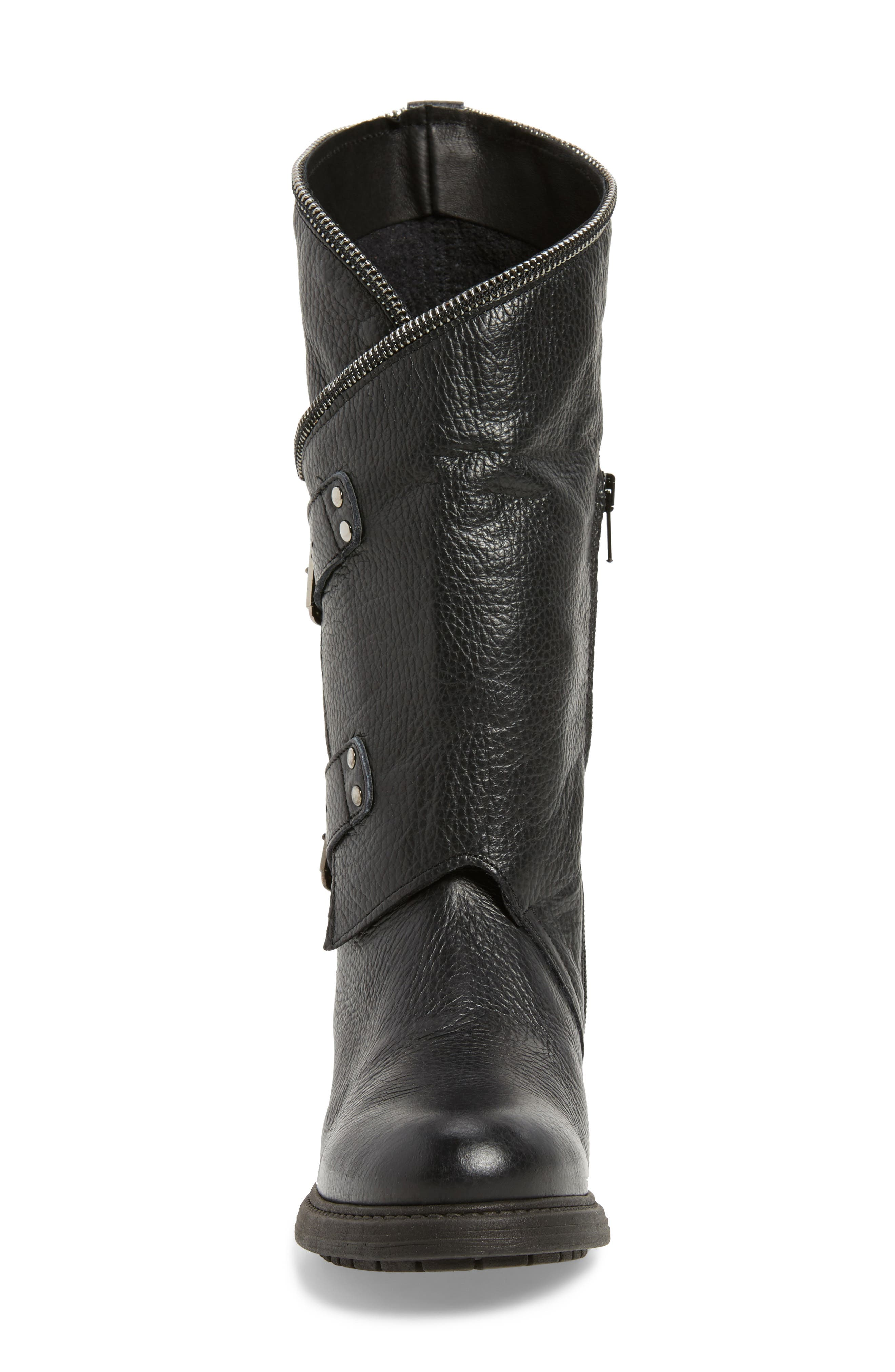 Bray Asymmetrical Zip Boot,                             Alternate thumbnail 4, color,                             Black Leather