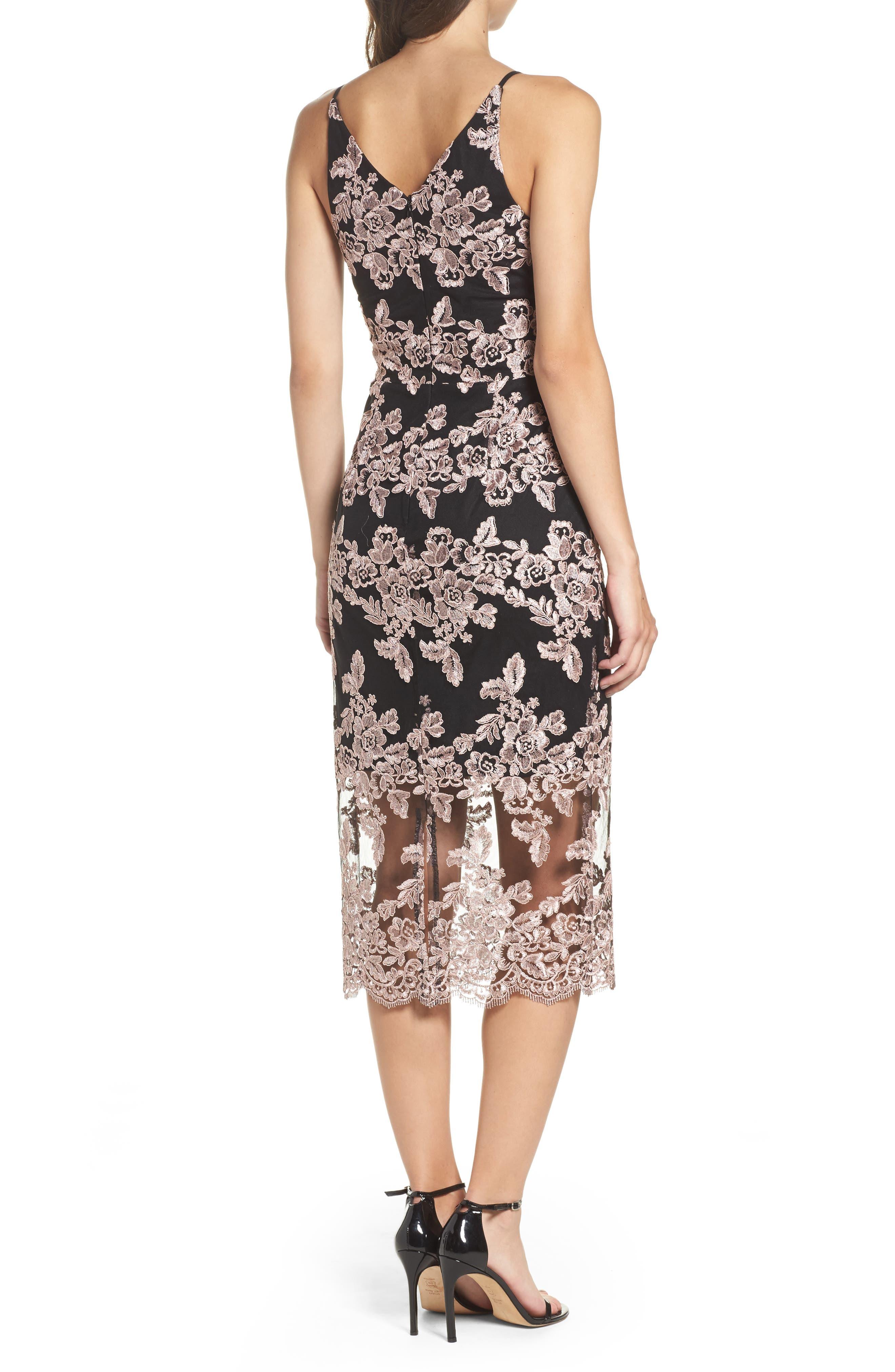 Plunge Lace Midi Dress,                             Alternate thumbnail 2, color,                             Black/ Mauve