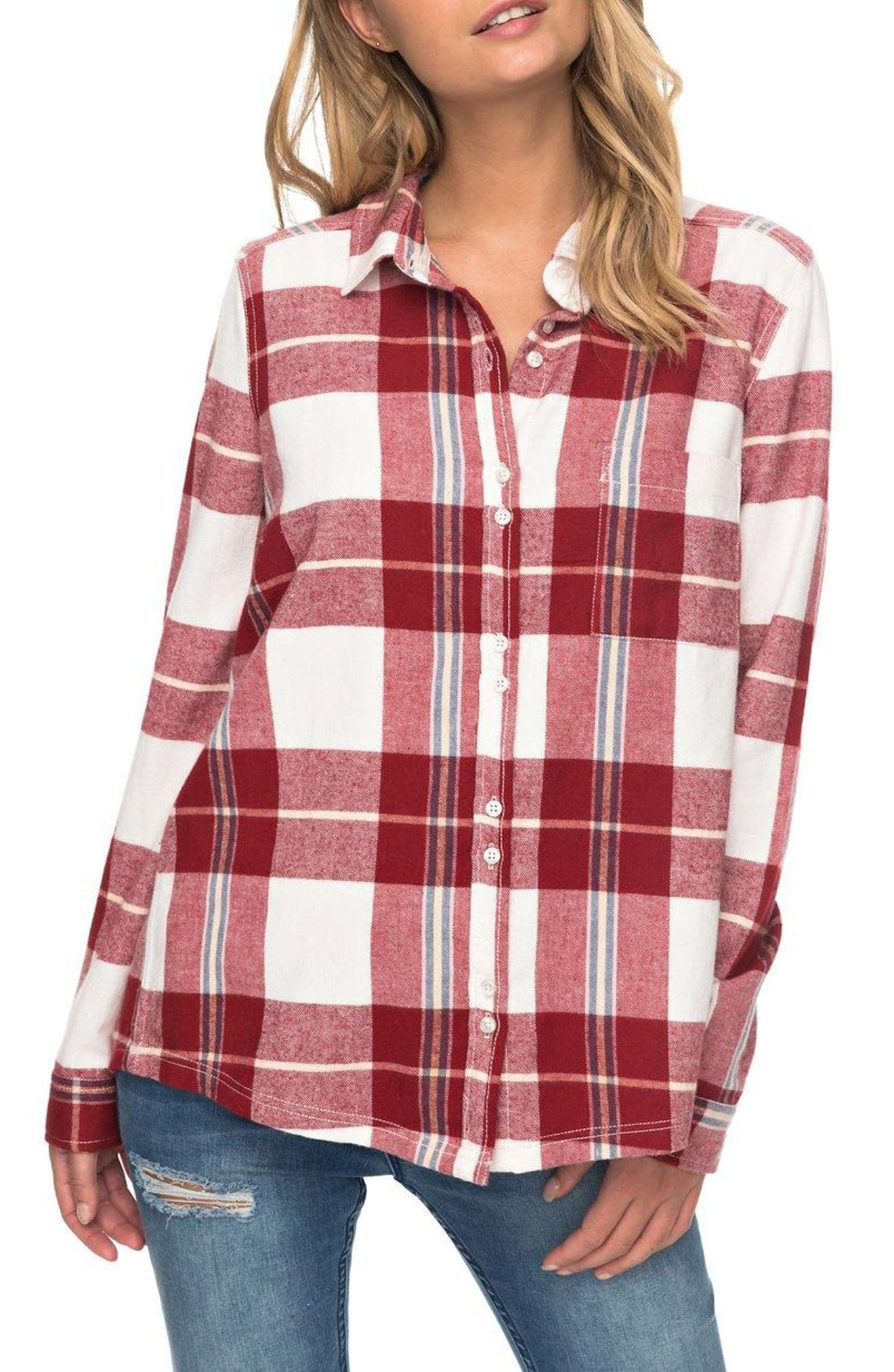 Roxy Heavy Feelings Plaid Cotton Shirt