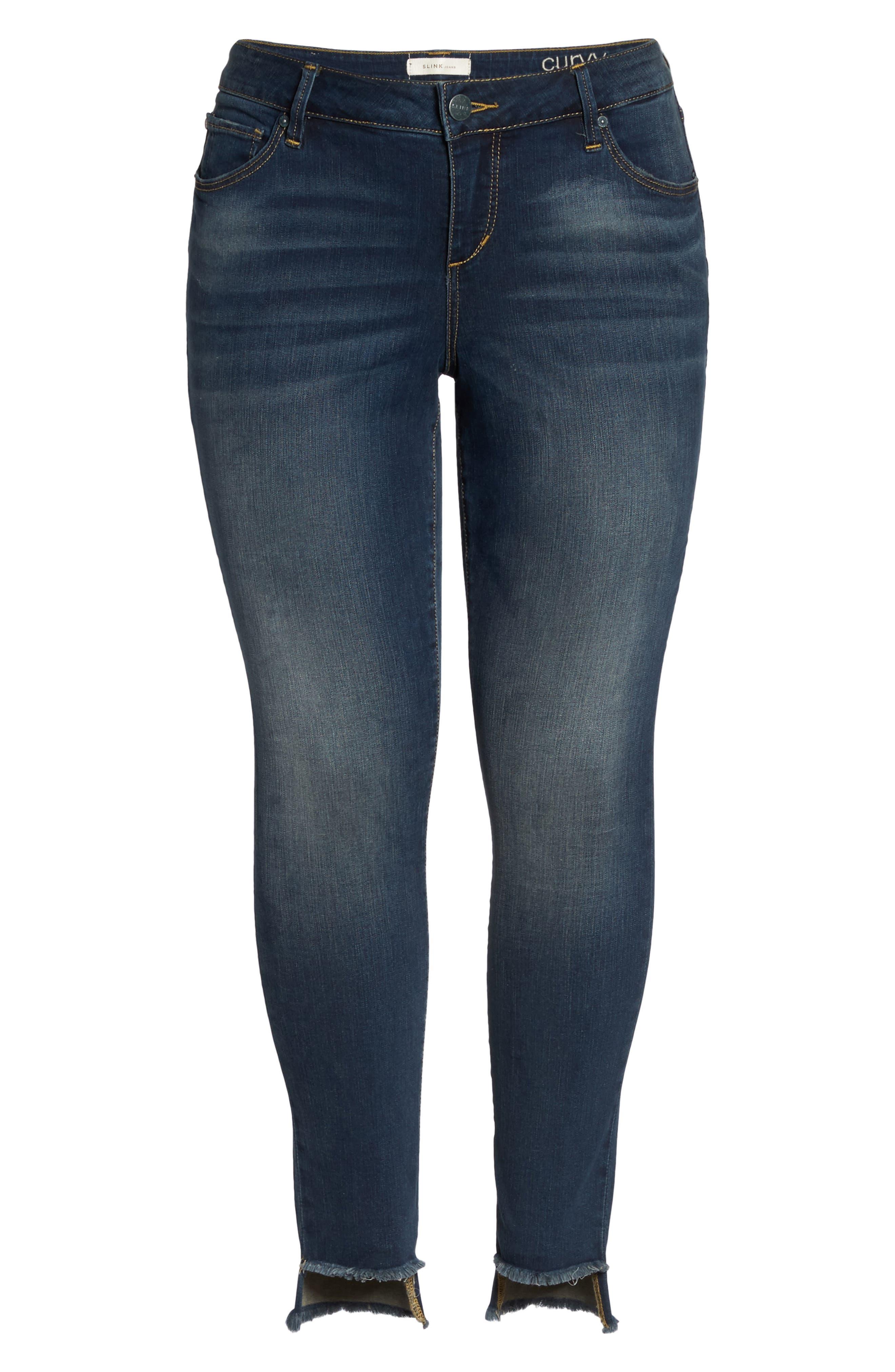 Alternate Image 6  - SLINK Jeans Step Hem Skinny Jeans (Danielle) (Plus Size)