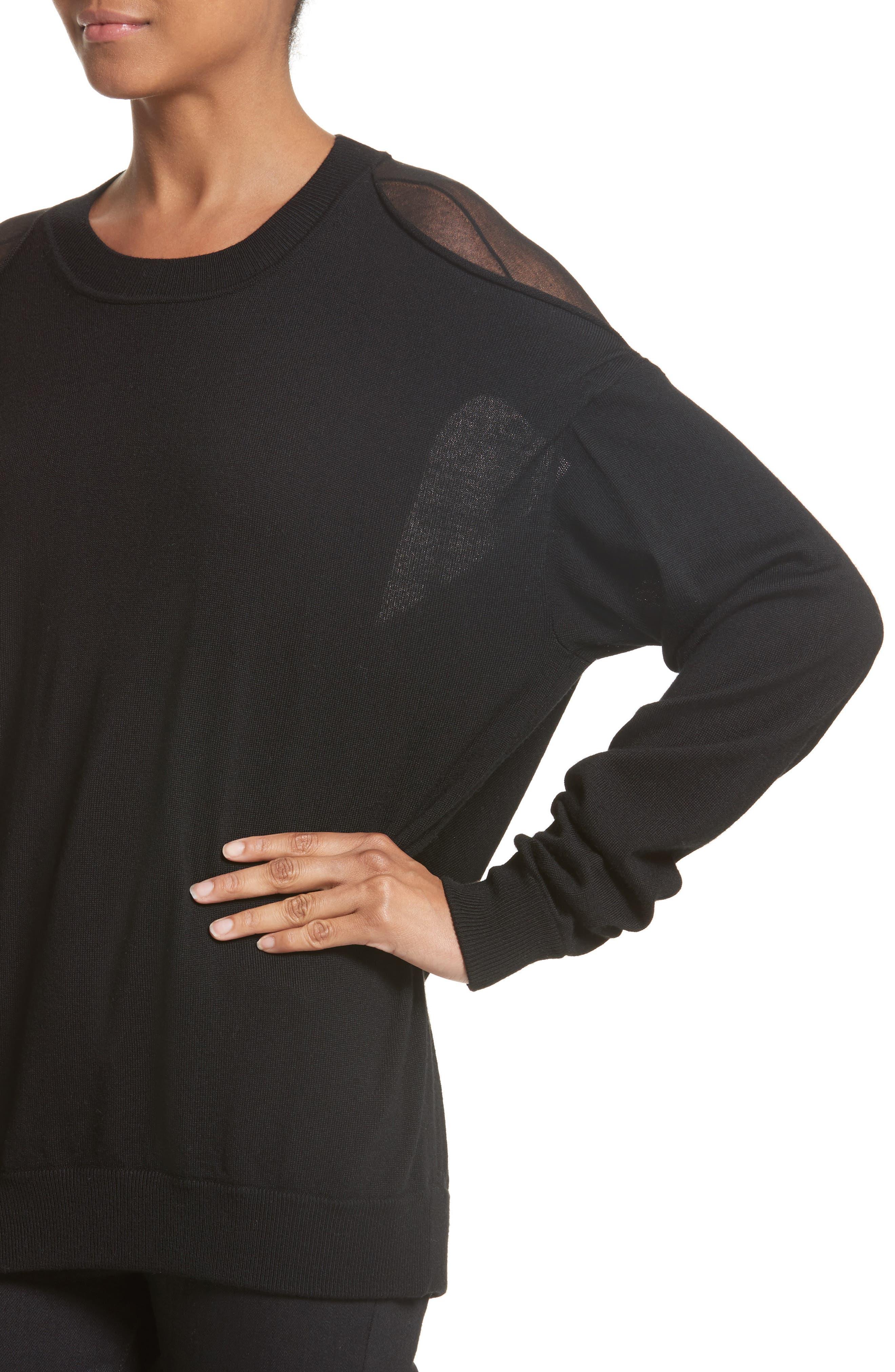 Drape Back Merino Wool Sweater,                             Alternate thumbnail 4, color,                             Black