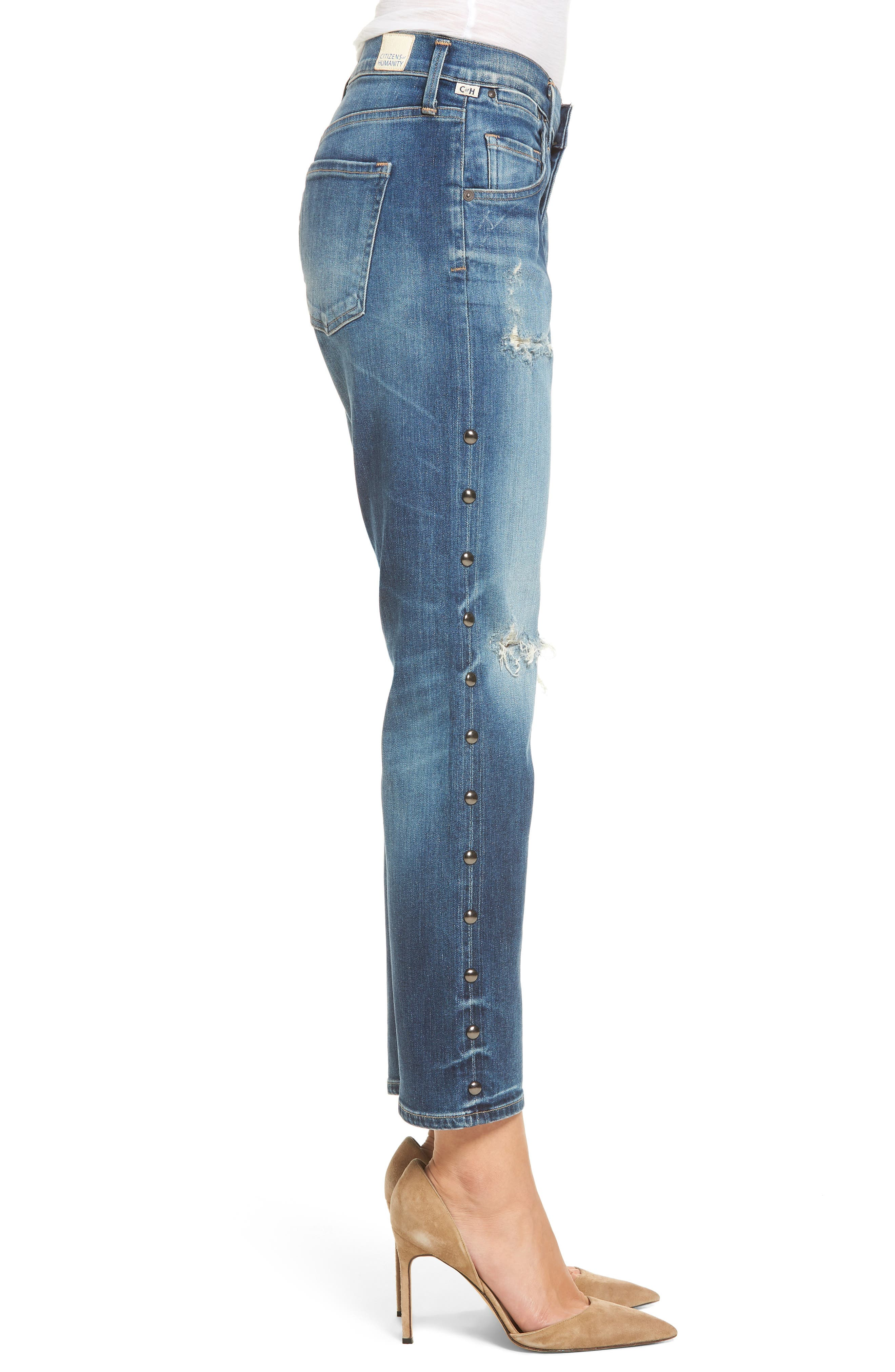Emerson Slim Boyfriend Jeans,                             Alternate thumbnail 3, color,                             Studded Stetson