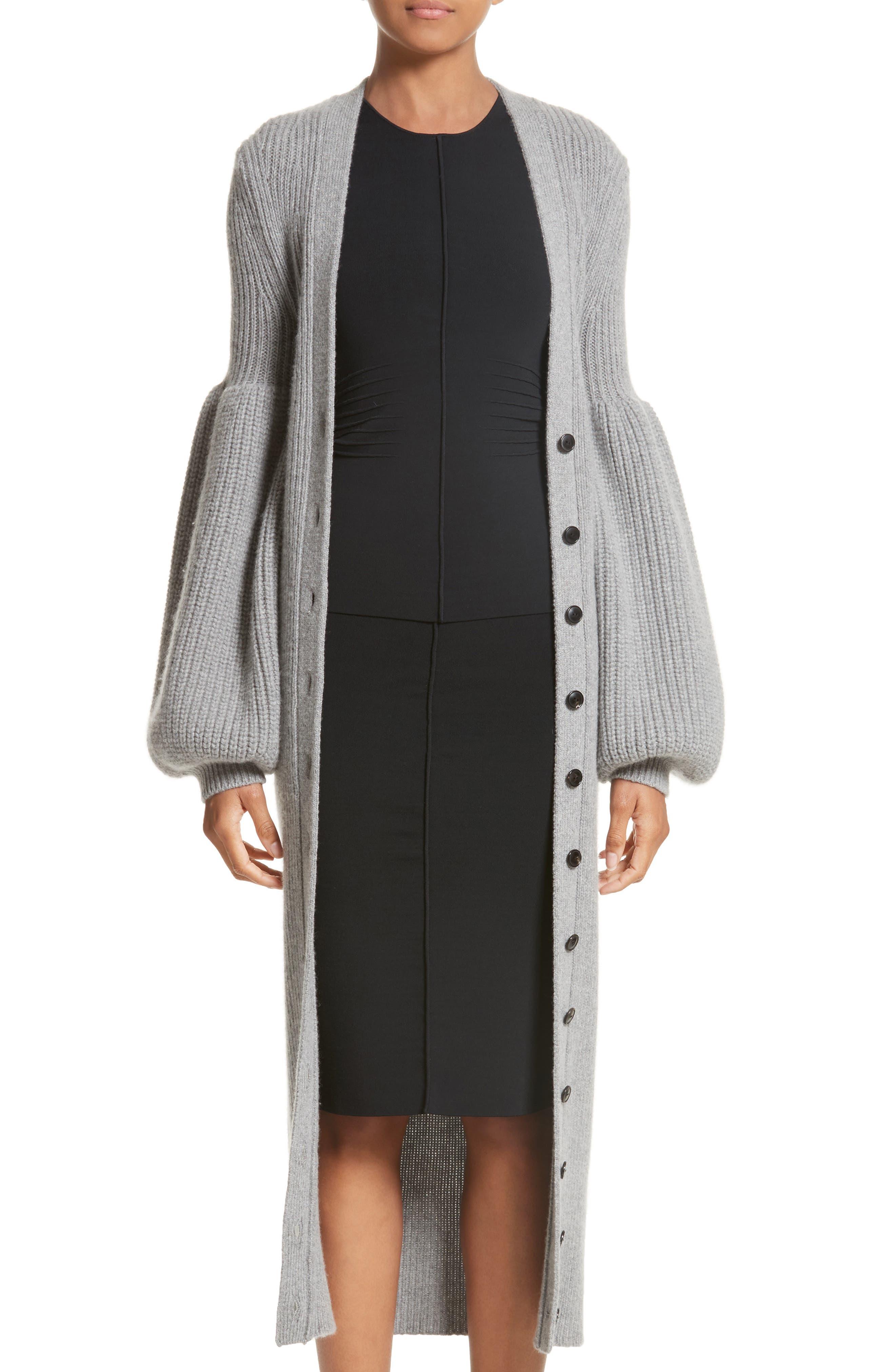 Bishop Sleeve Cardigan,                             Main thumbnail 1, color,                             Grey Melange