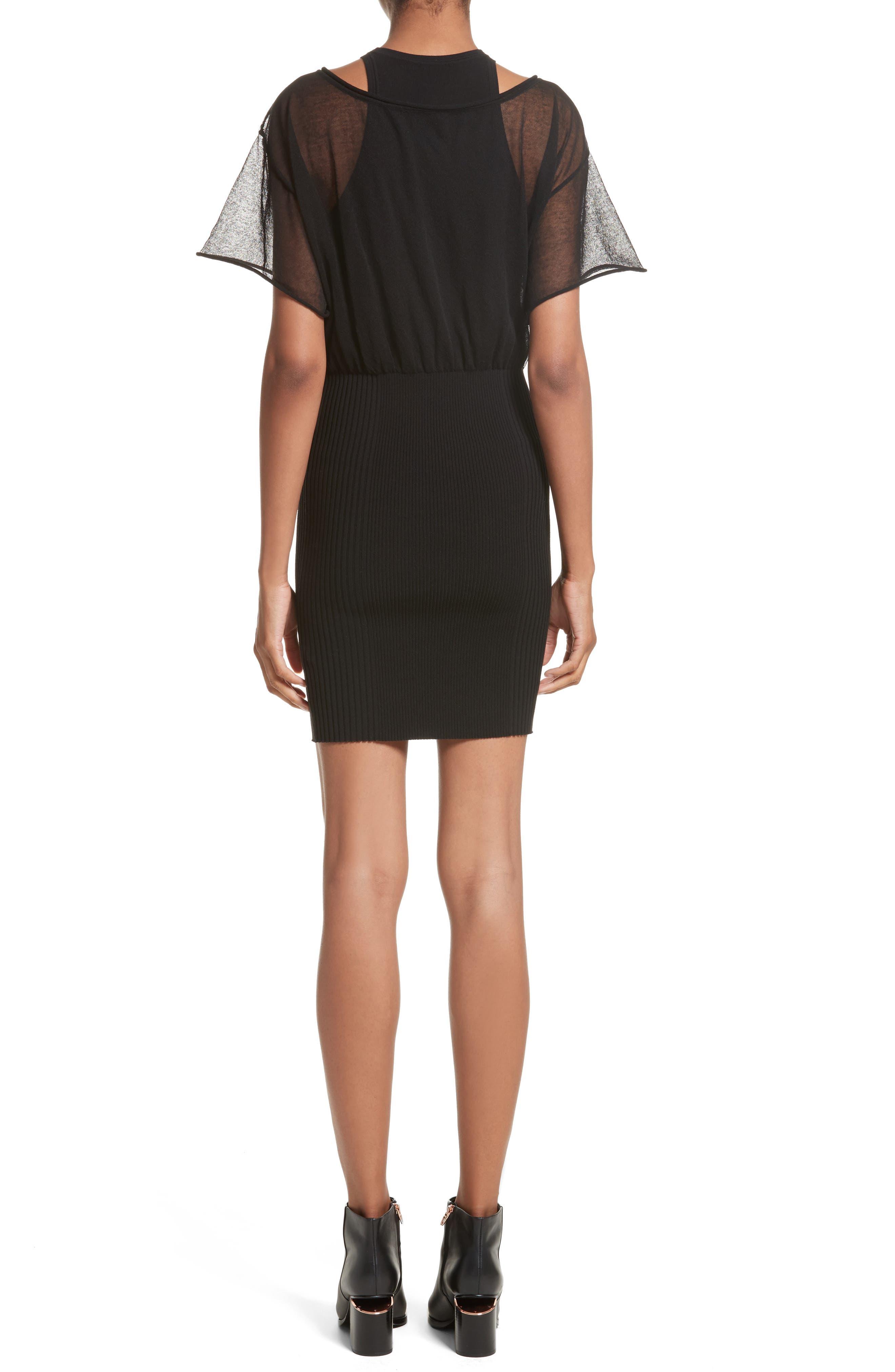 Sheer Popover Knit Dress,                             Alternate thumbnail 2, color,                             Black