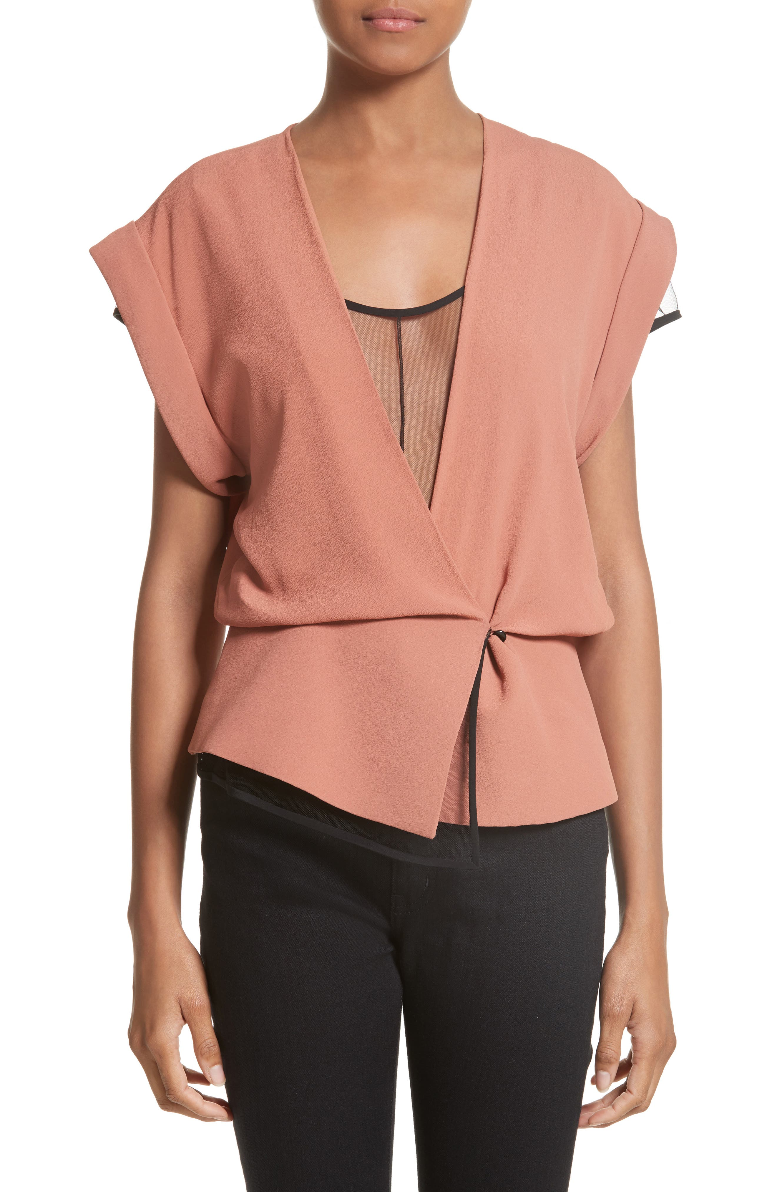 Tulle Lined Peplum Top,                         Main,                         color, Sierra