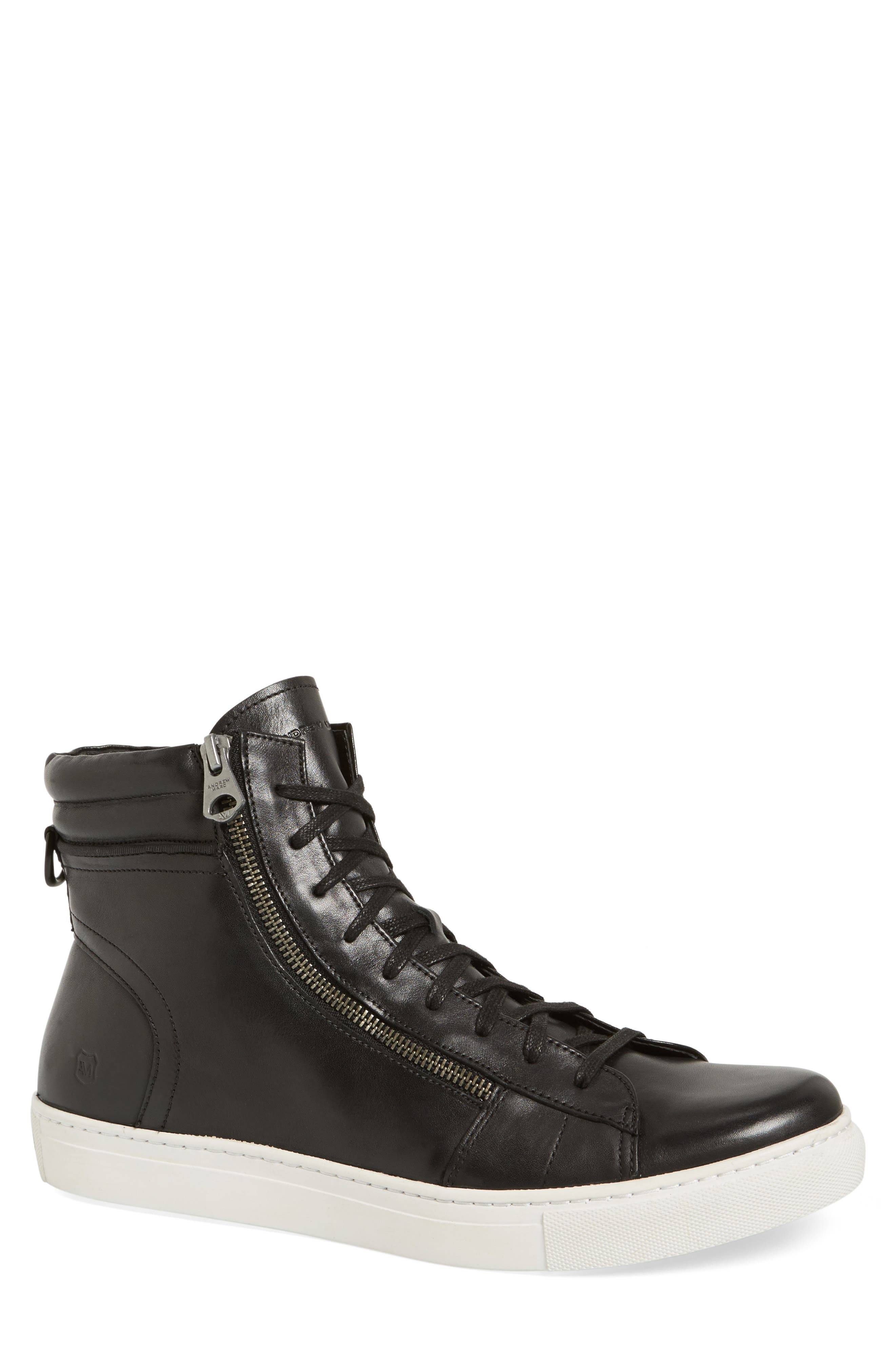 Remsen Sneaker,                         Main,                         color, Black/ White Leather