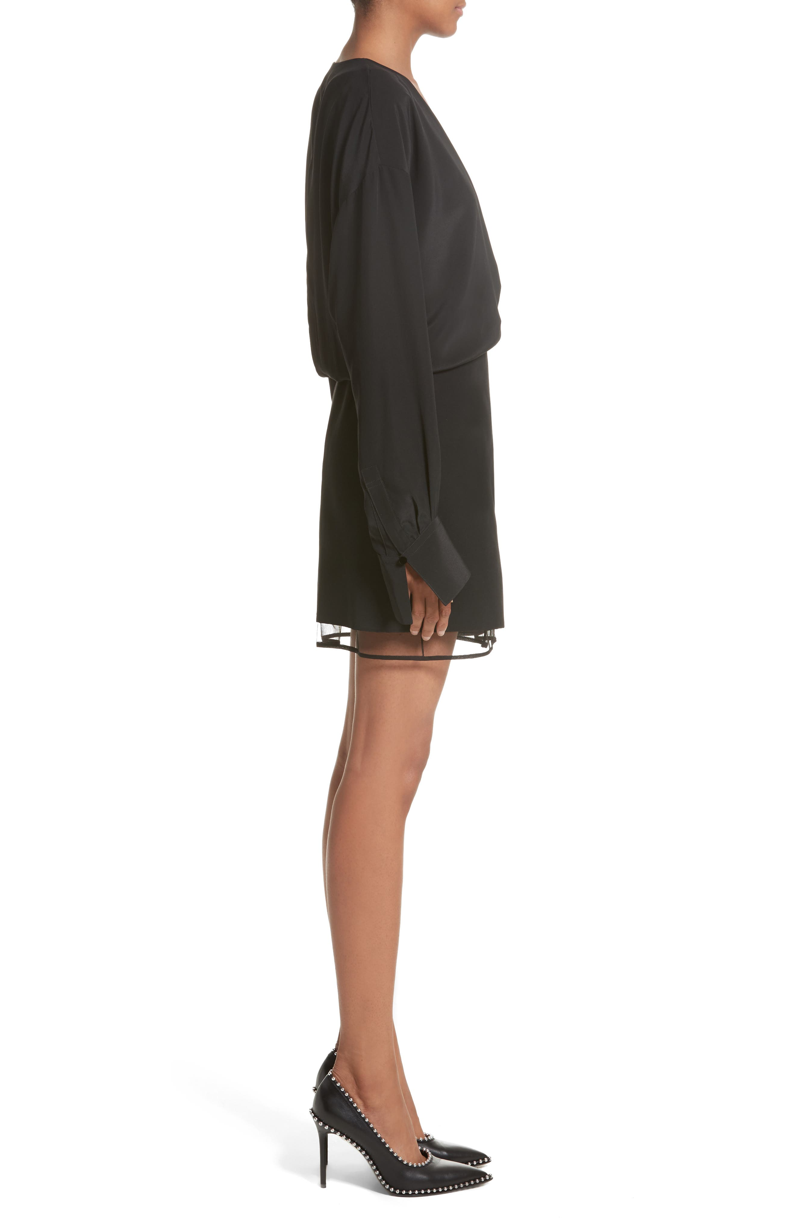 Tulle Lined Minidress,                             Alternate thumbnail 3, color,                             Black
