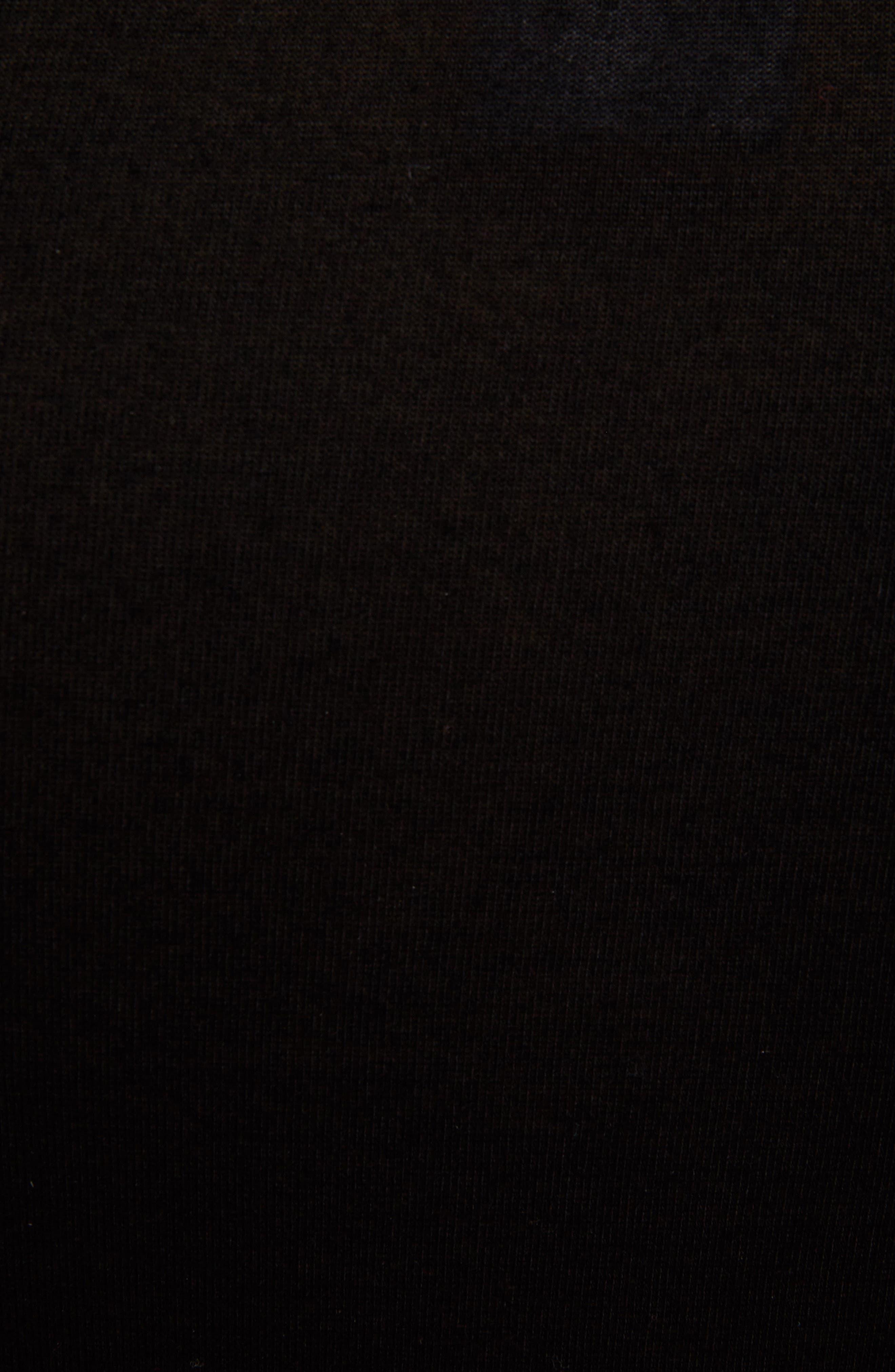 Ruffle Sleeve Jersey Top,                             Alternate thumbnail 5, color,                             Black