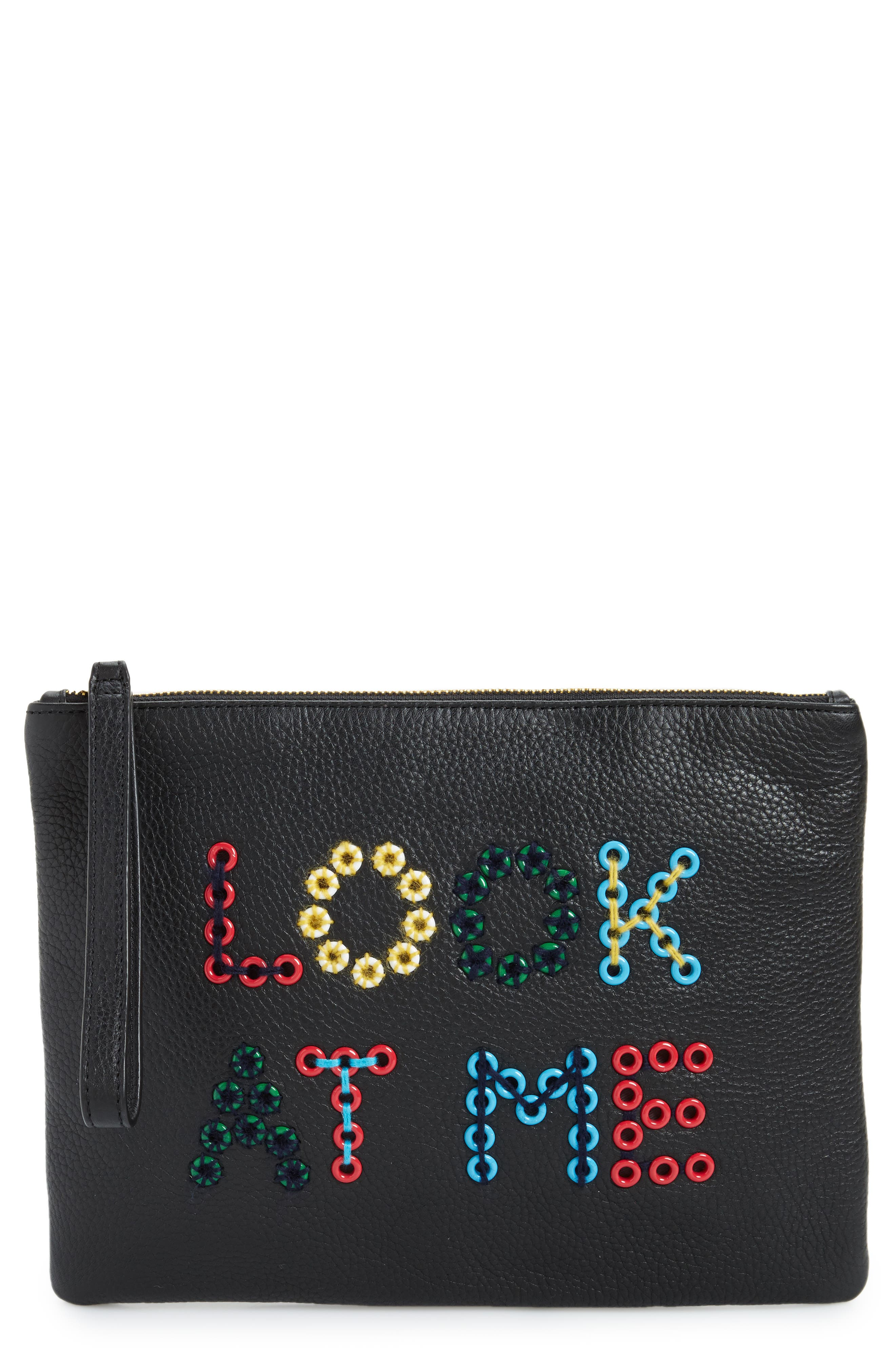 Layton Look at Me Embellished Pouch,                         Main,                         color, Black