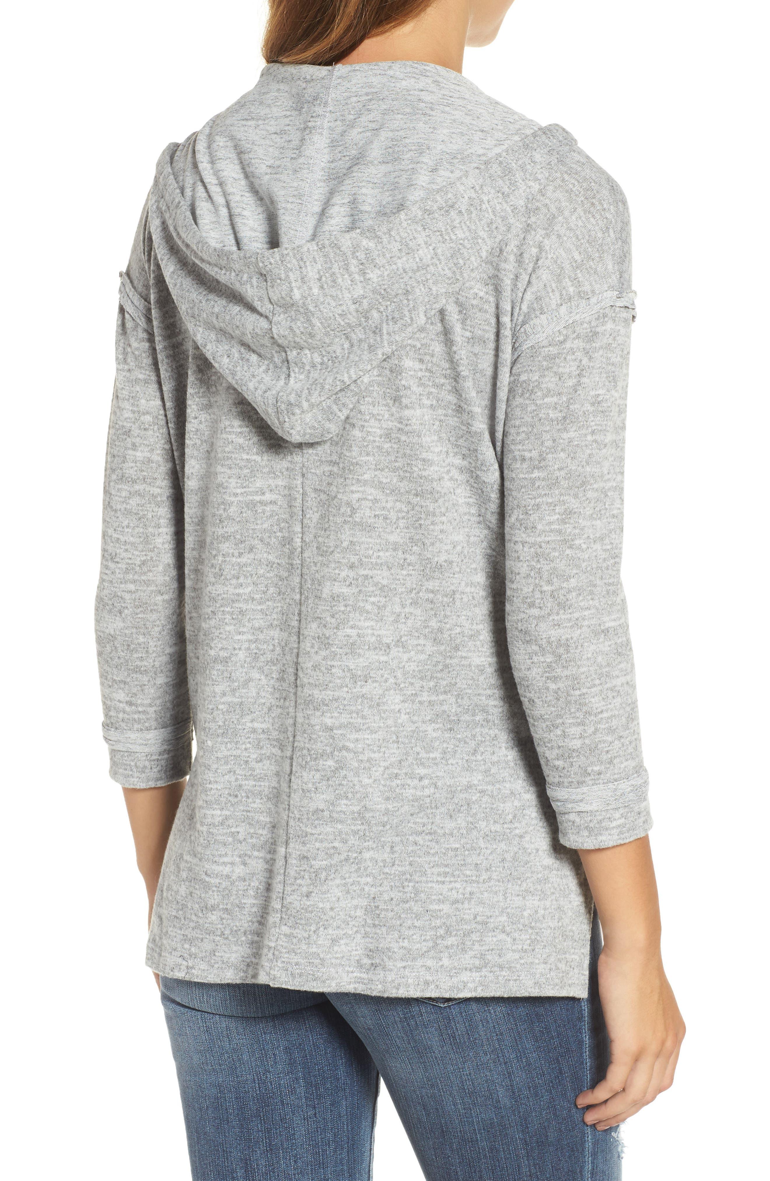 Front Pocket Knit Hoodie,                             Alternate thumbnail 2, color,                             Light Grey