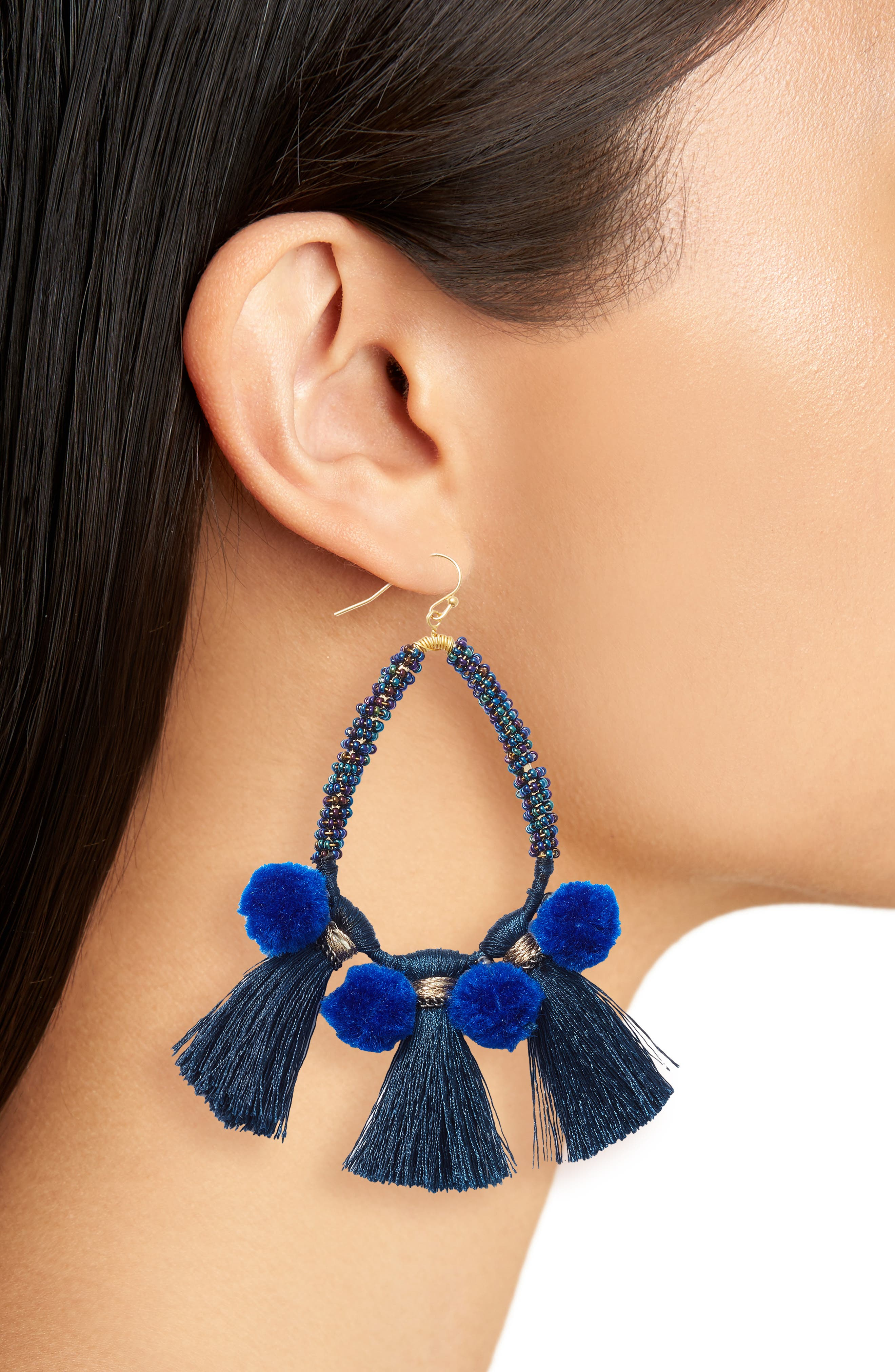 Babak Teardrop Tassel Earrings,                             Alternate thumbnail 2, color,                             Blue