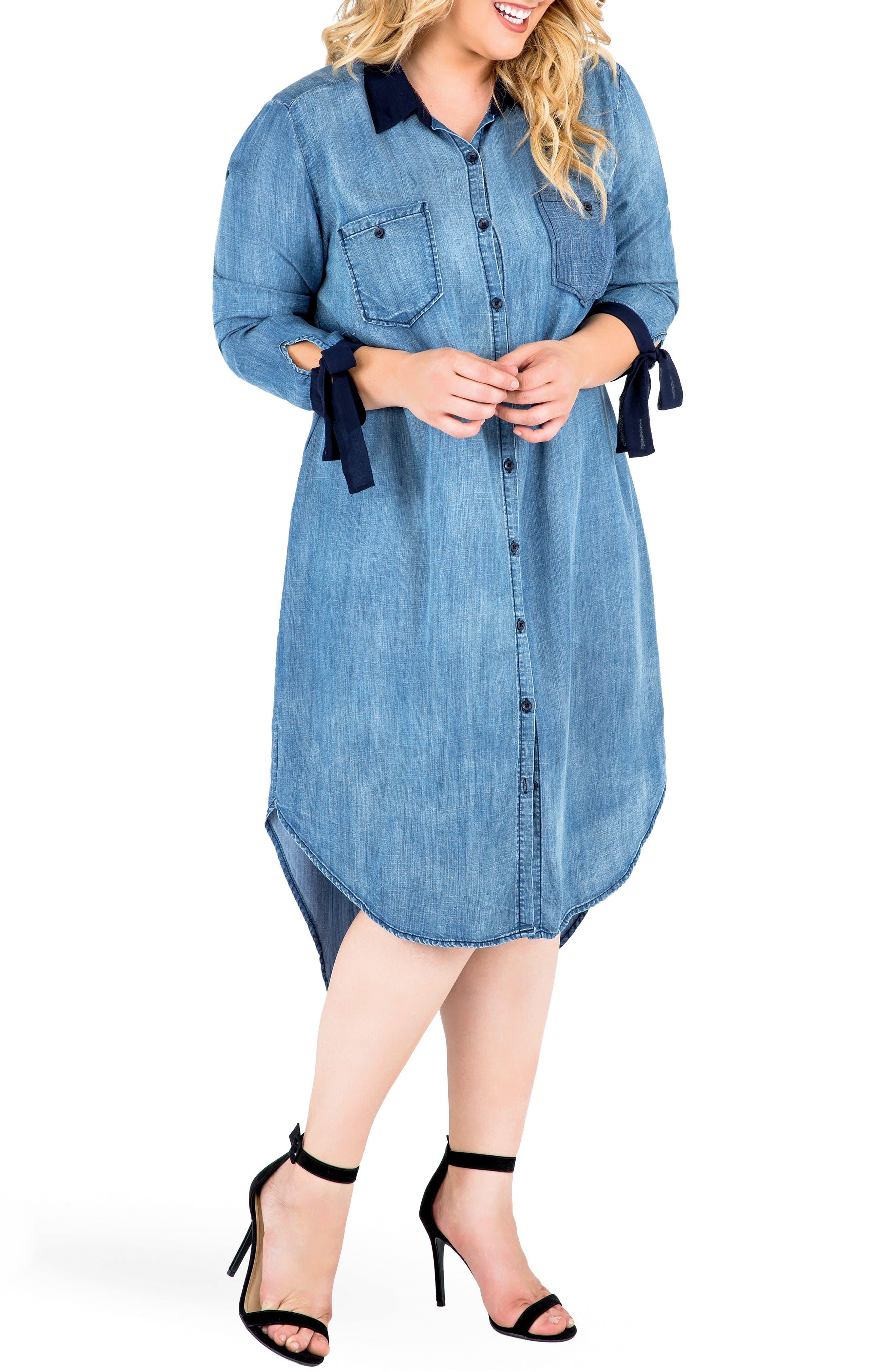 Alternate Image 2  - Standards & Practices High/Low Denim Shirtdress (Plus Size)