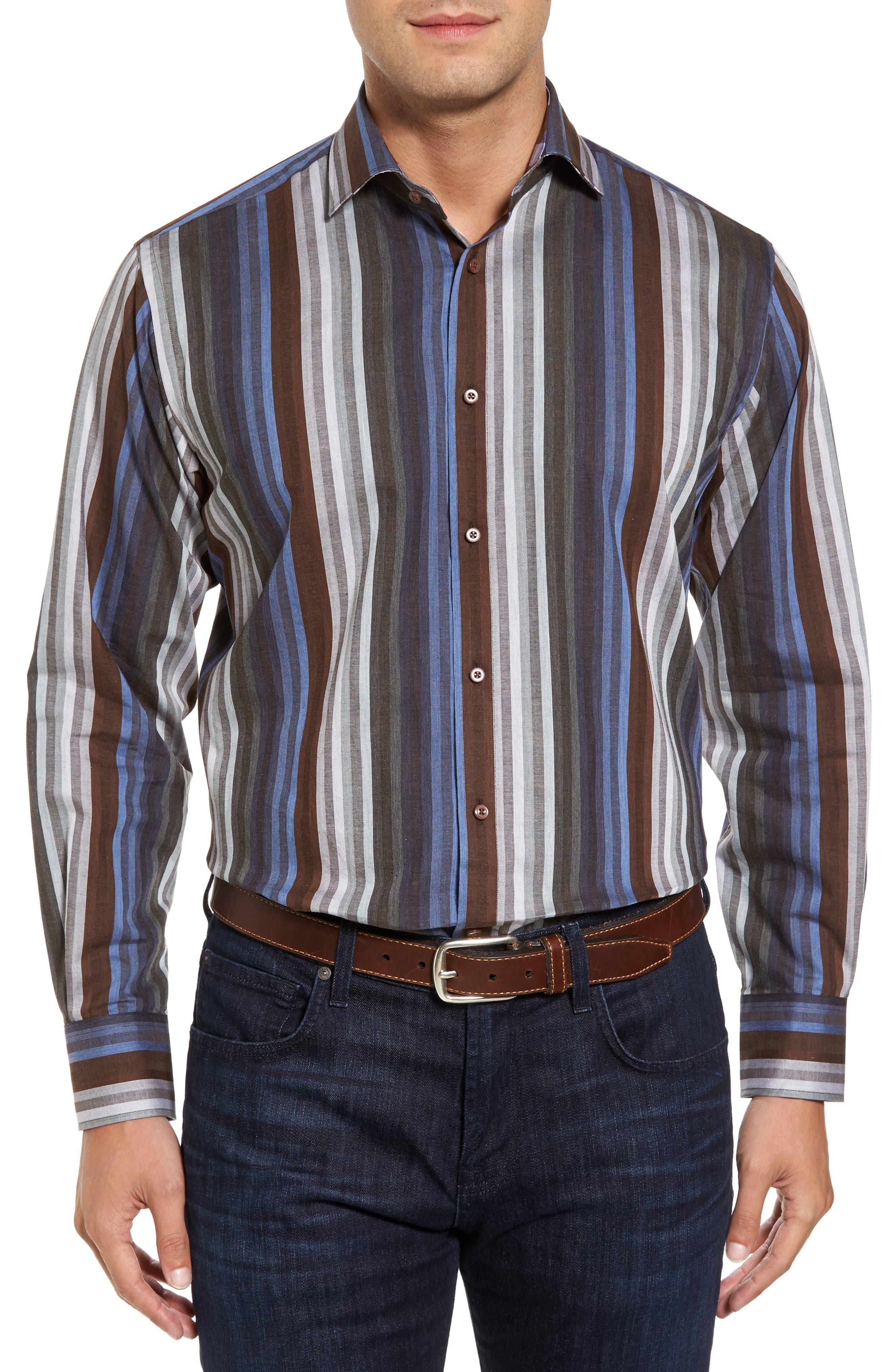 Alternate Image 1 Selected - Thomas Dean Regular Fit Multicolor Stripe Herringbone Sport Shirt