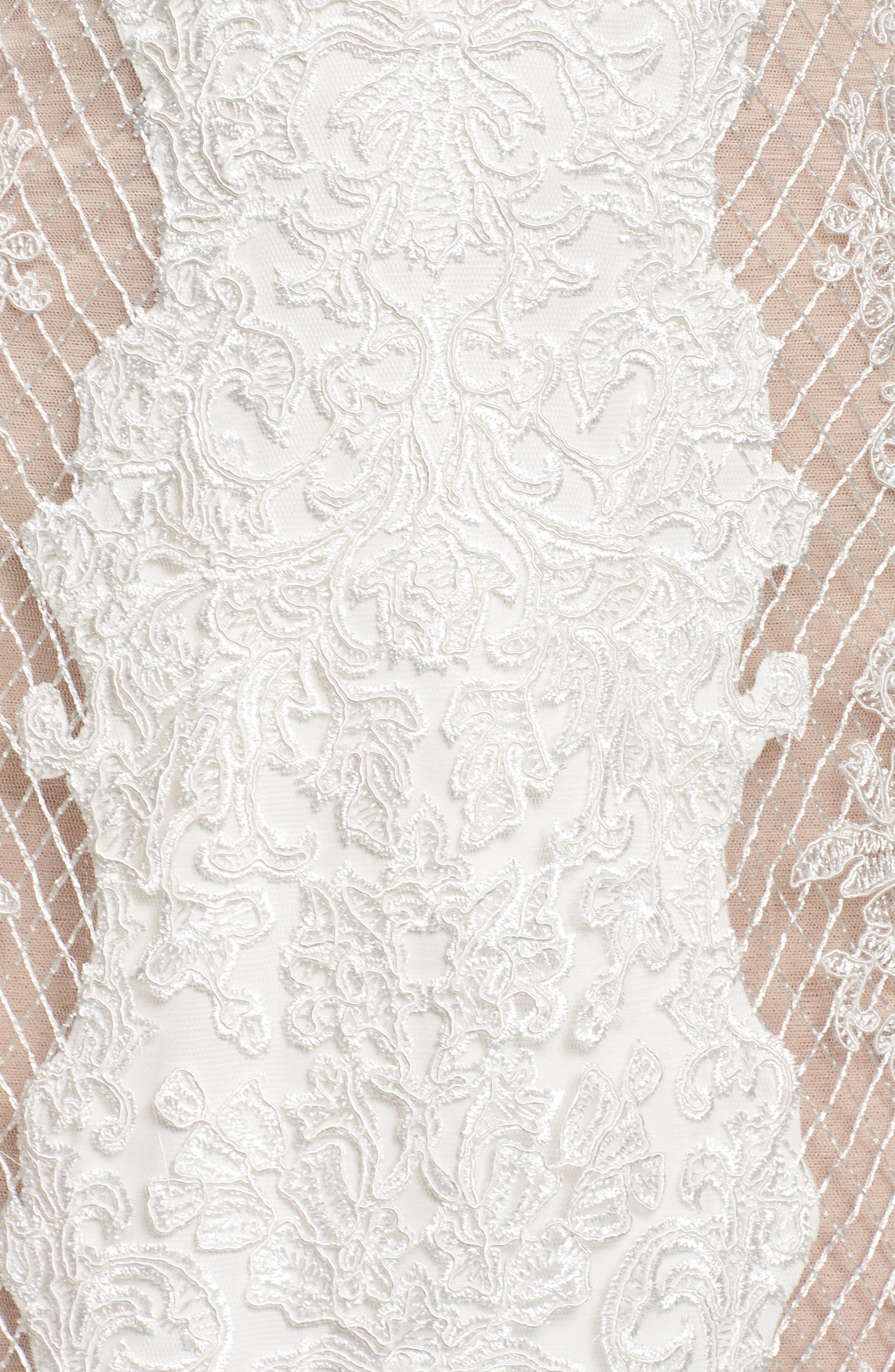 Lace & Mesh Trumpet Gown,                             Alternate thumbnail 5, color,                             Ivory