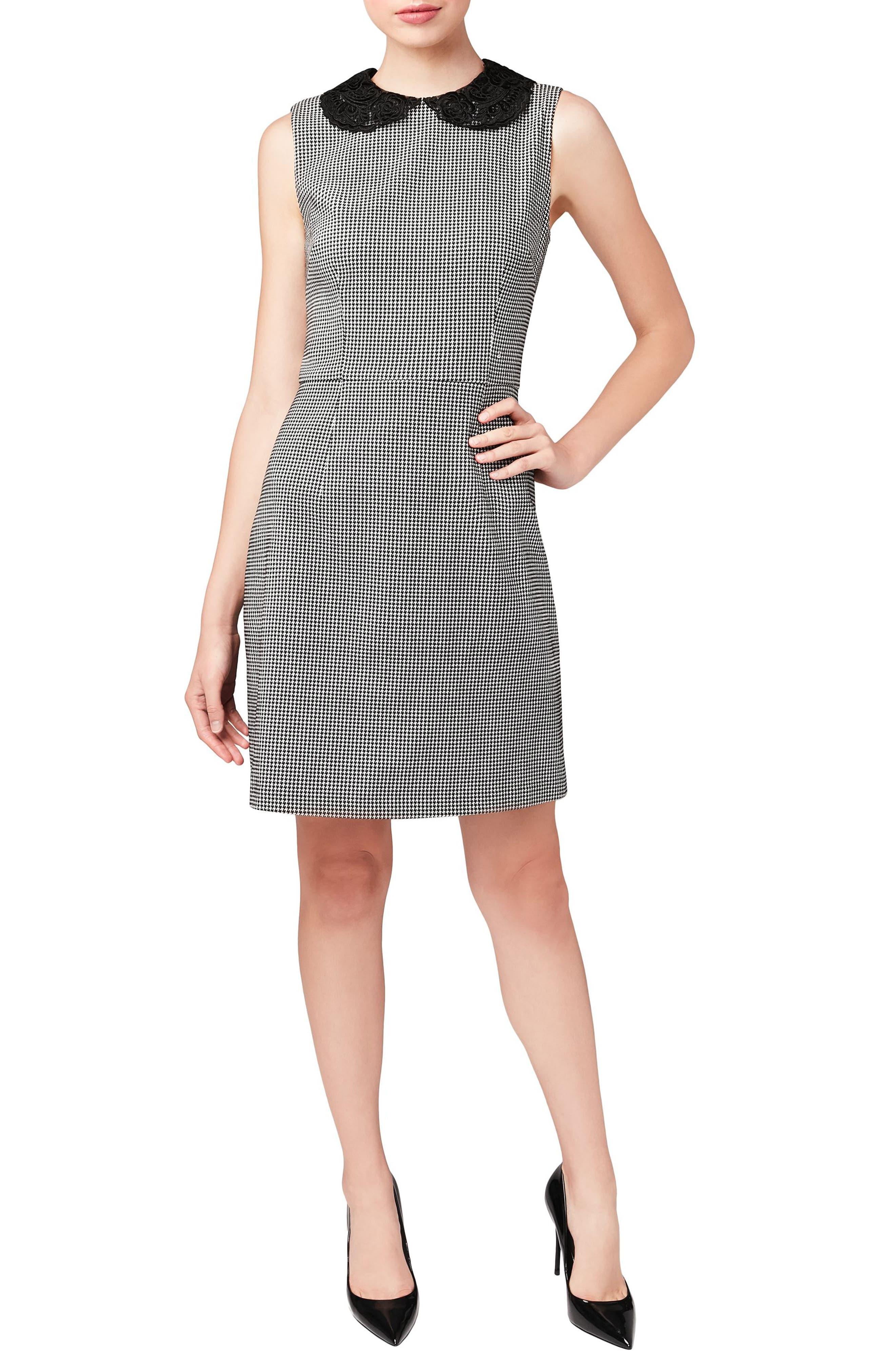 Lace Collar Shift Dress,                         Main,                         color, Black/ White