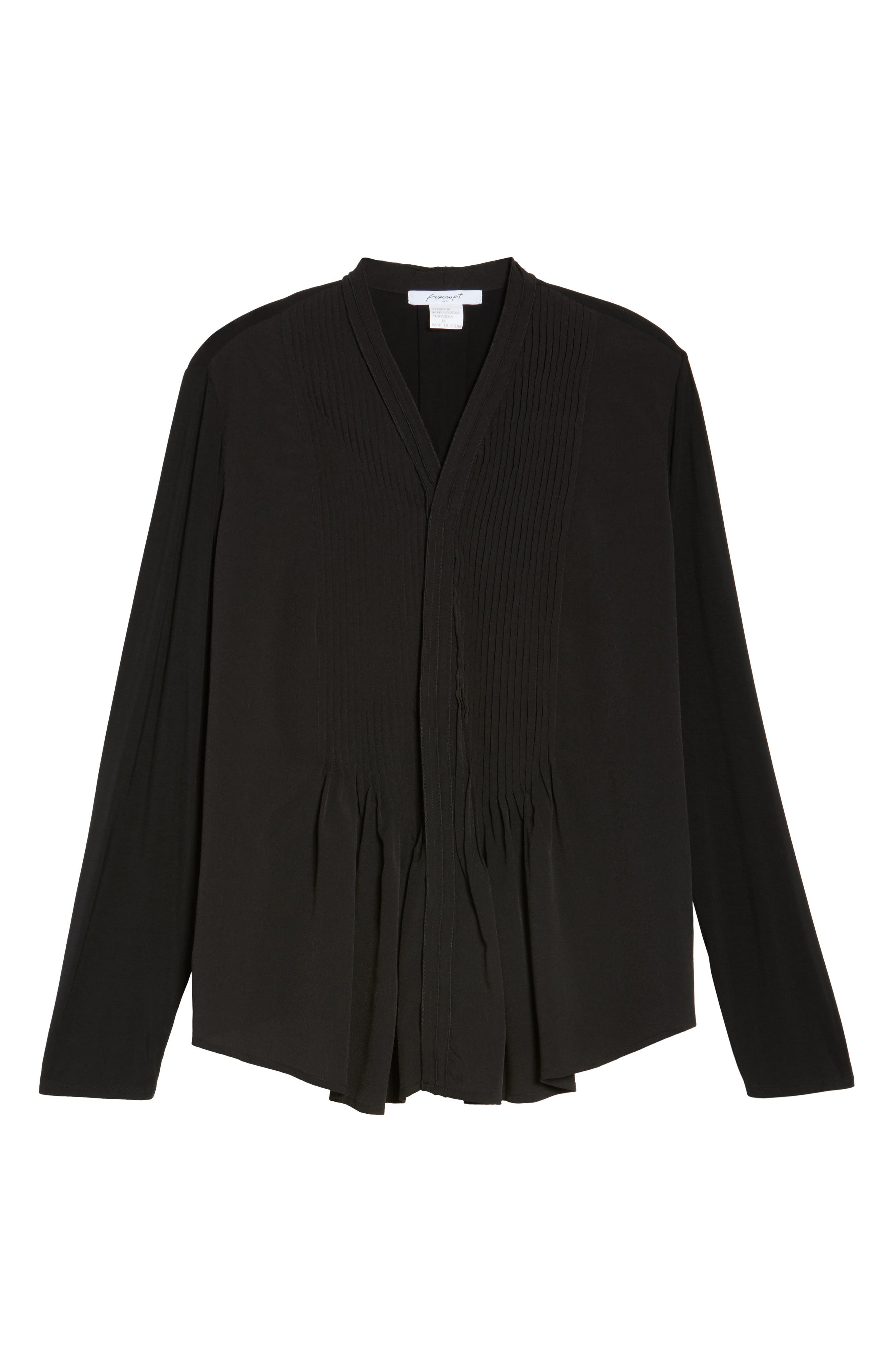 Alternate Image 6  - Foxcroft Carrie Crepe & Jersey Top (Plus Size)
