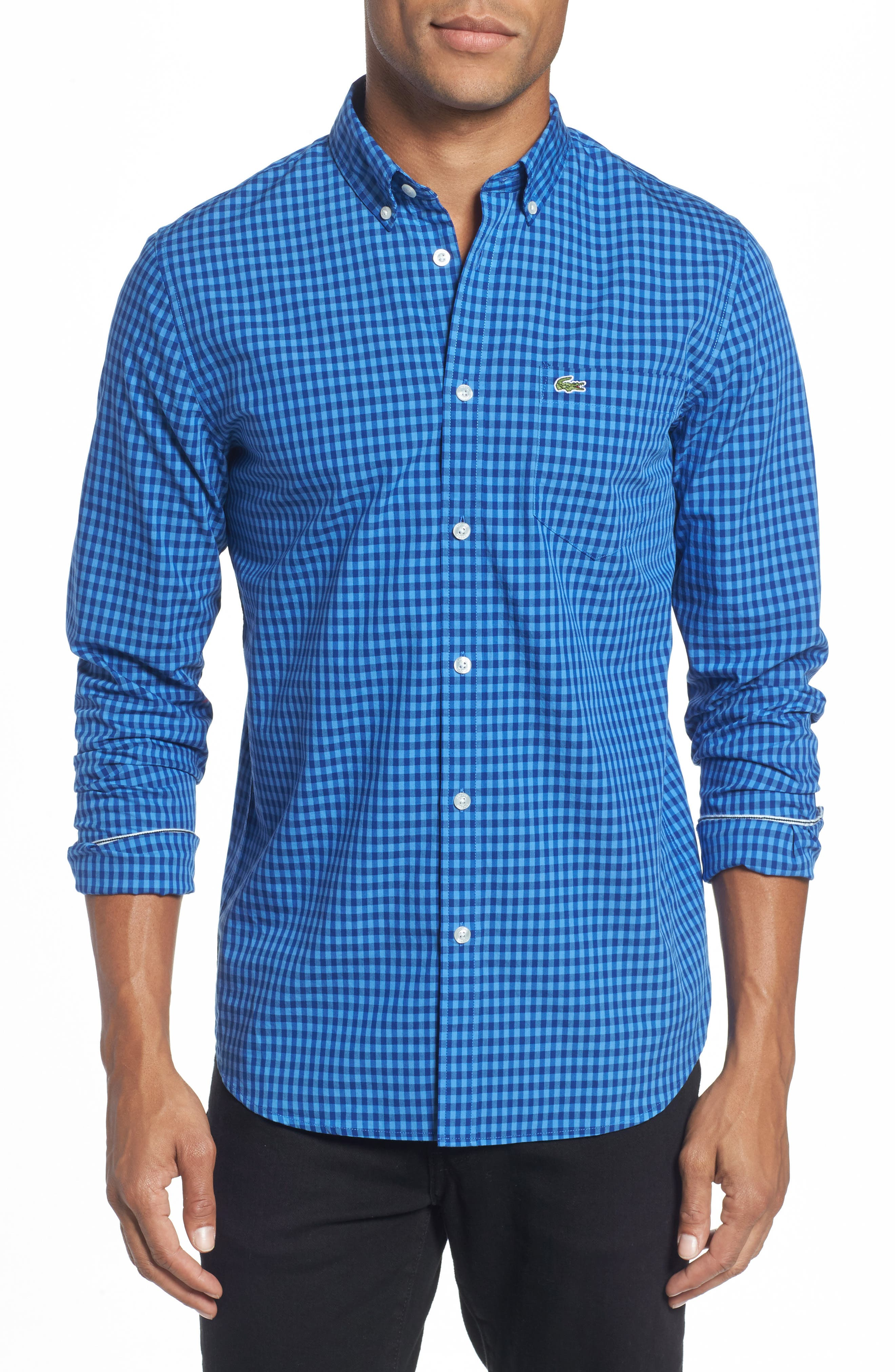 Gingham Check Poplin Shirt,                         Main,                         color, Blue