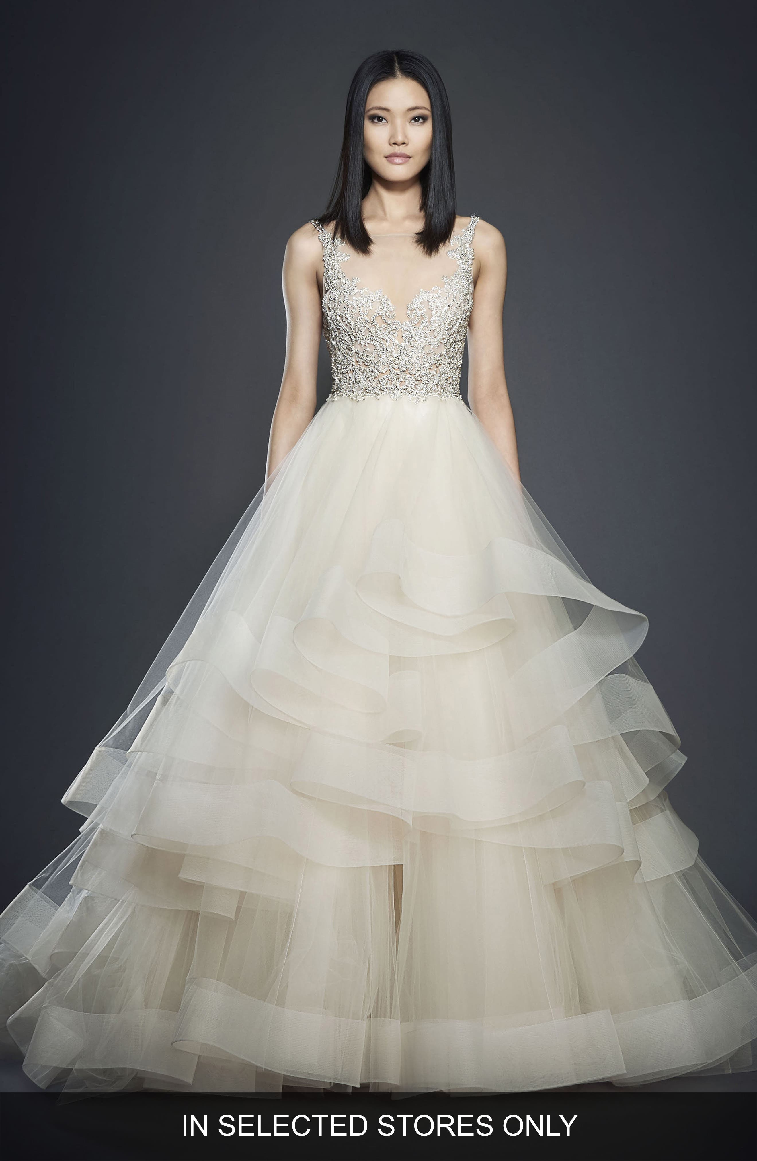Crystal Embellished Layered Organza Ballgown,                             Main thumbnail 1, color,                             Champagne