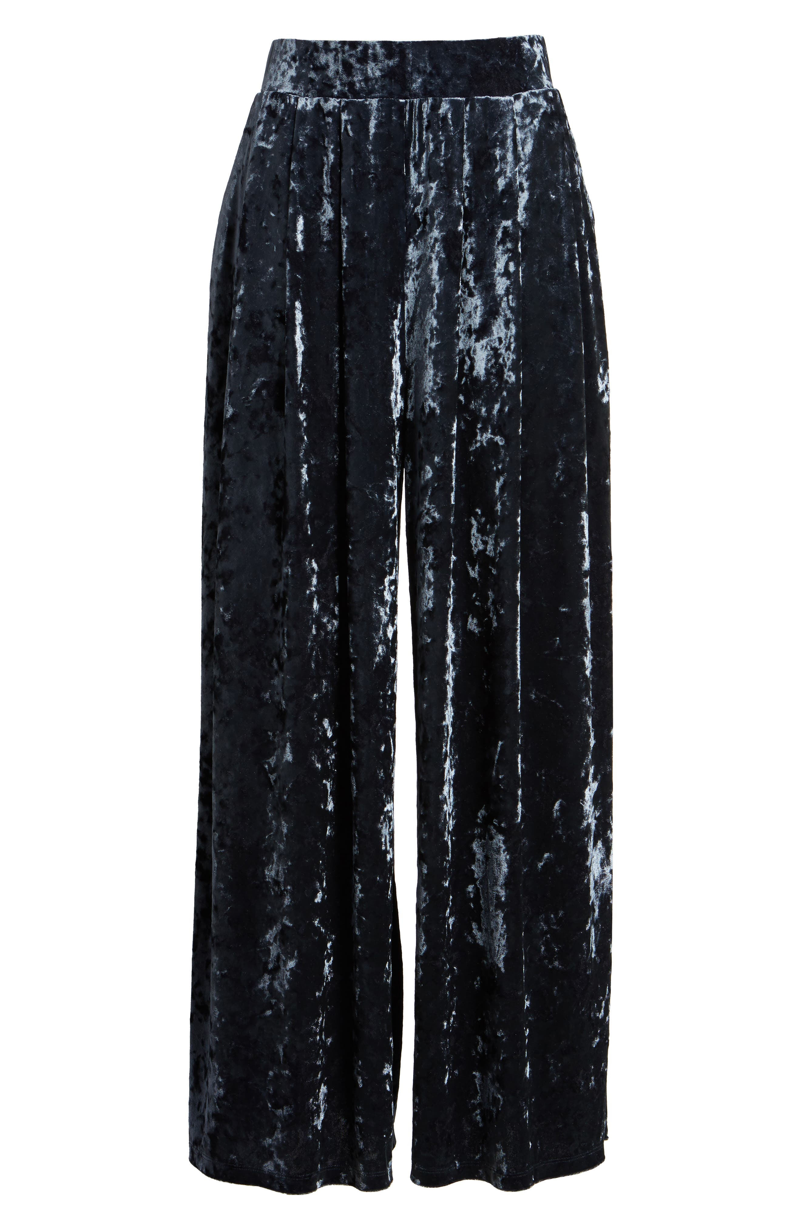 Crop Wide Leg Velour Pants,                             Alternate thumbnail 6, color,                             Navy India Ink