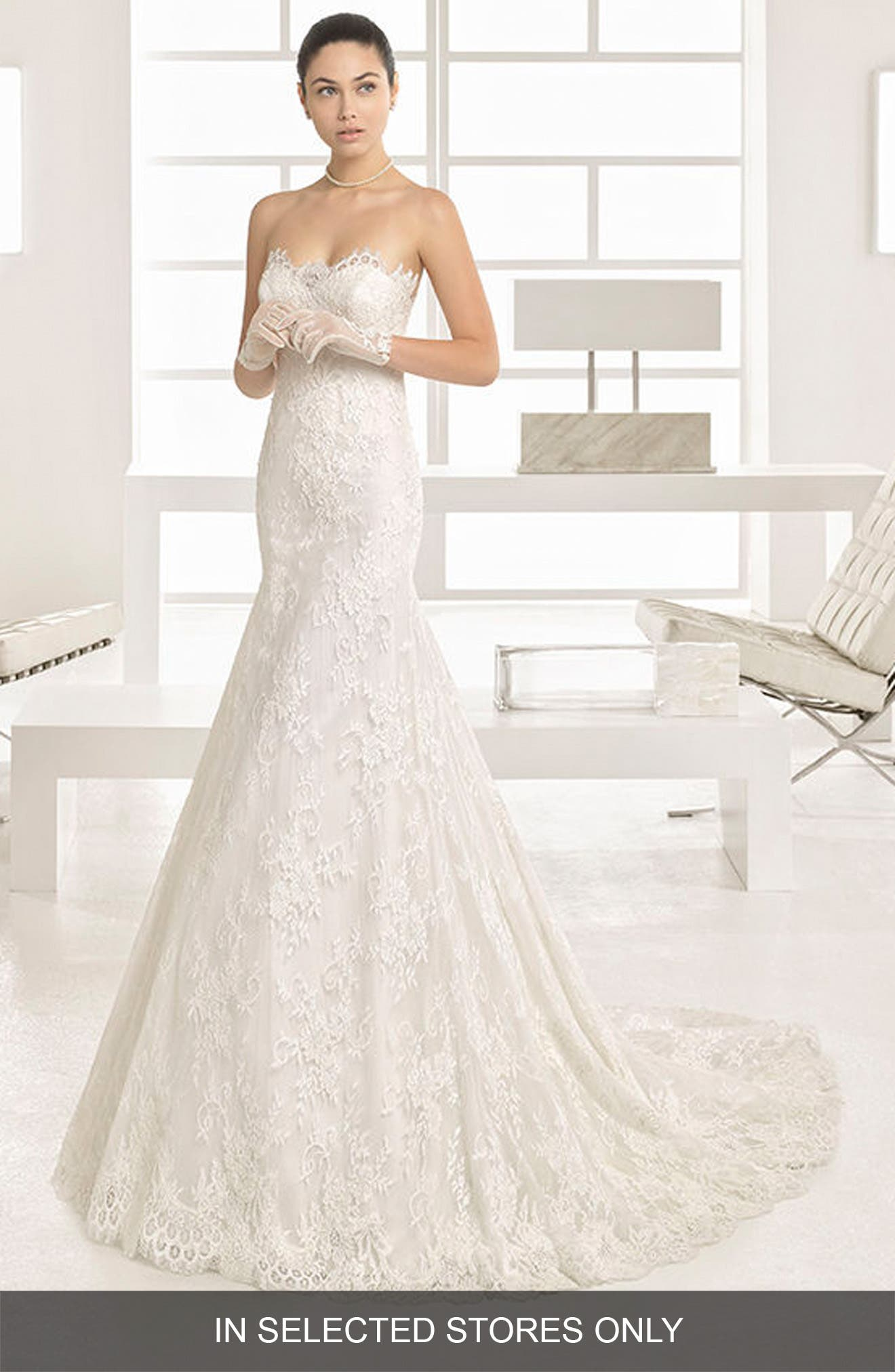 Ofrenda Strapless Lace Gown,                         Main,                         color, Natural