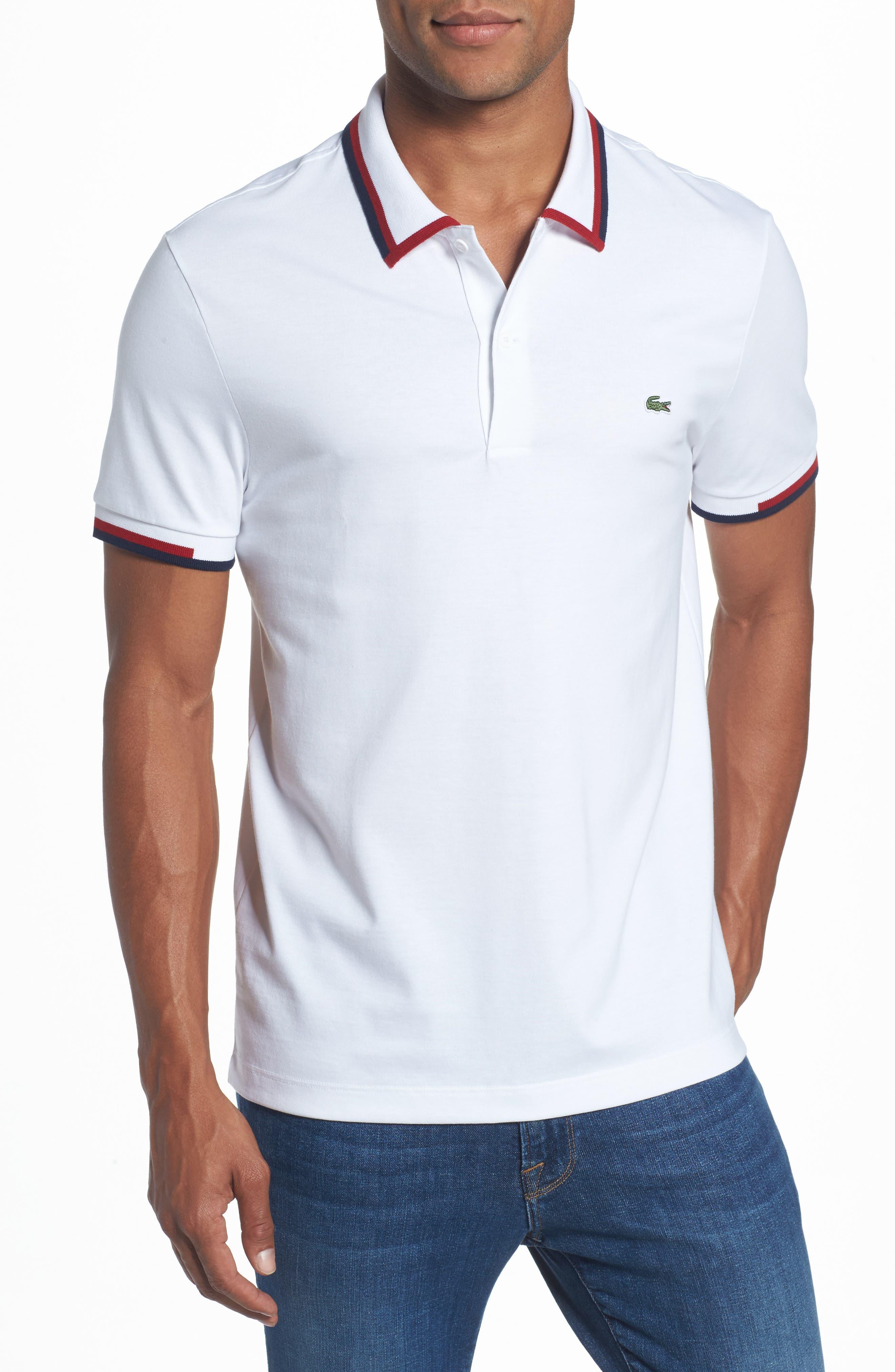Accent Collar Polo,                         Main,                         color, White/ Ladybird/ Navy Blue
