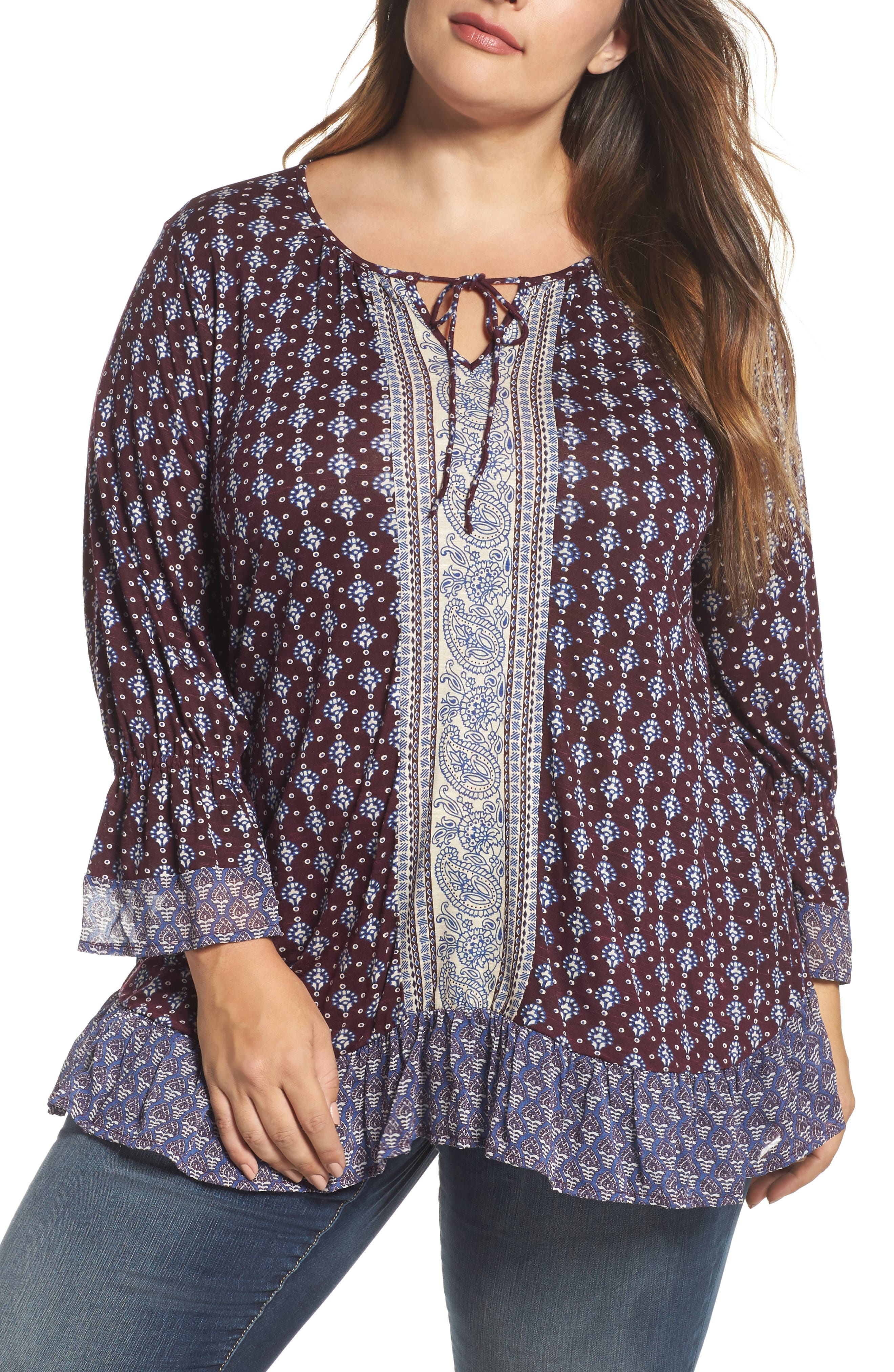 Alternate Image 1 Selected - Lucky Brand Mix Print Peasant Top (Plus Size)