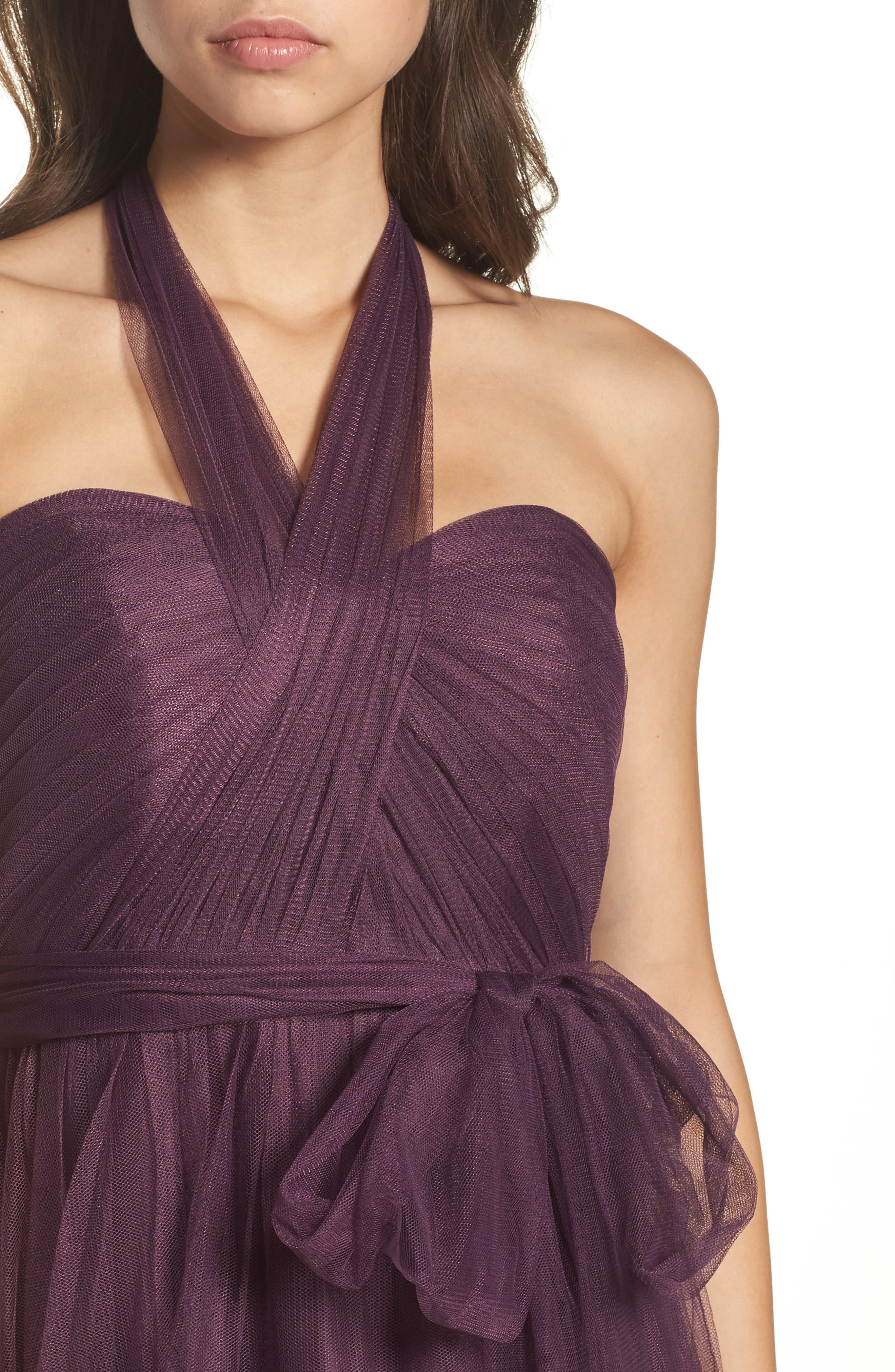 Annabelle Convertible Tulle Column Dress,                             Alternate thumbnail 6, color,                             Raisin