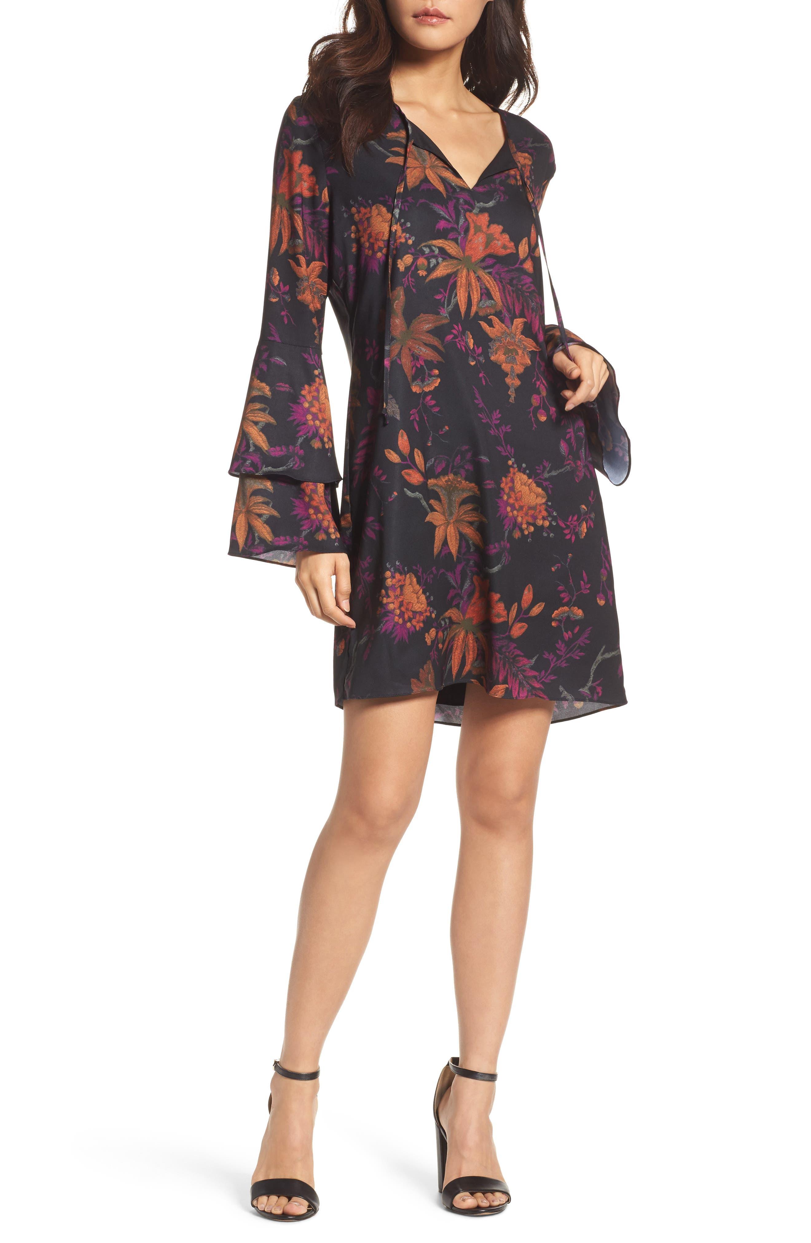 Primrose Bell Sleeve Dress,                         Main,                         color, Dragon Fruit Multi