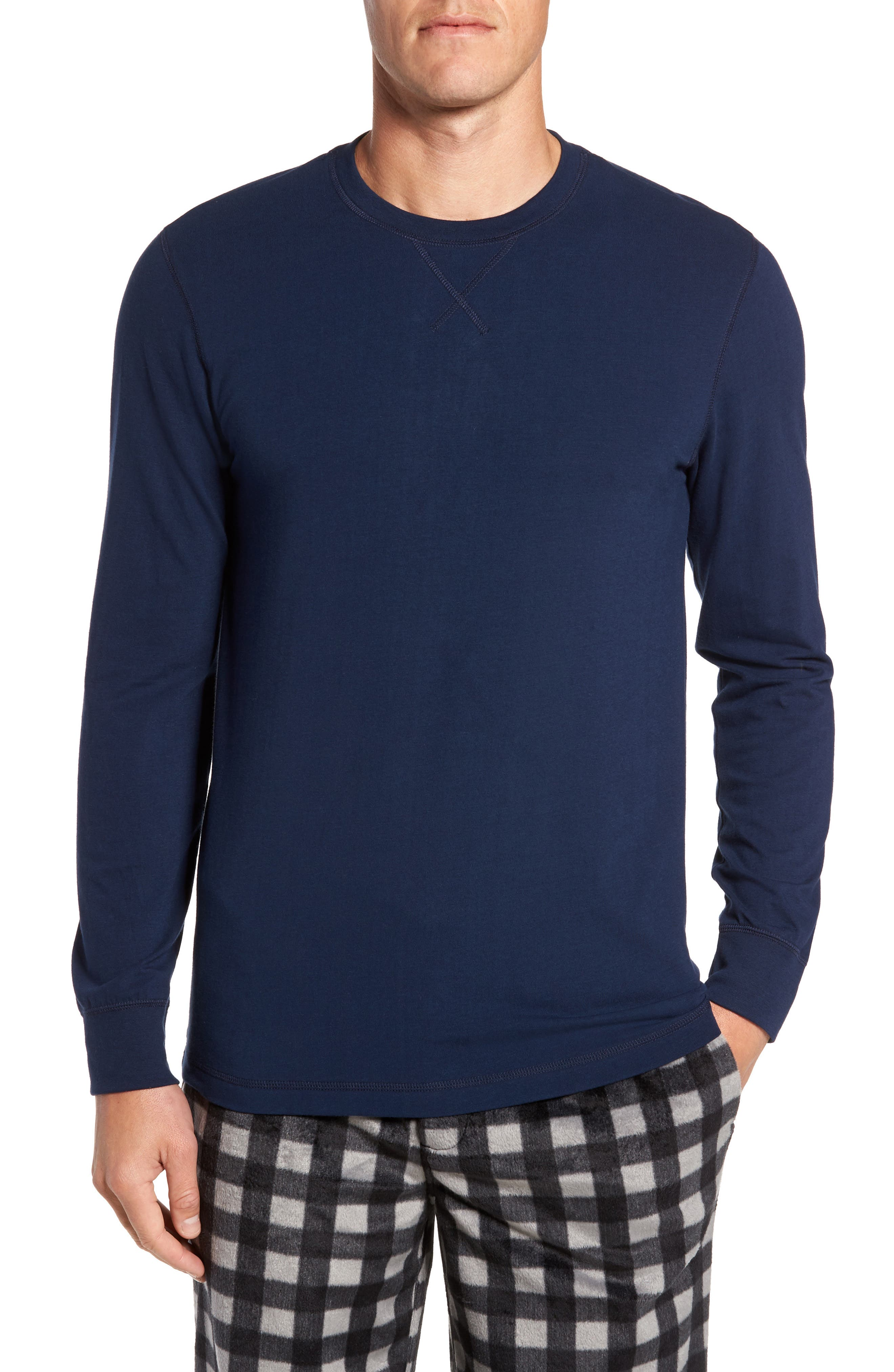 Stretch Cotton Long Sleeve T-Shirt,                         Main,                         color, Navy