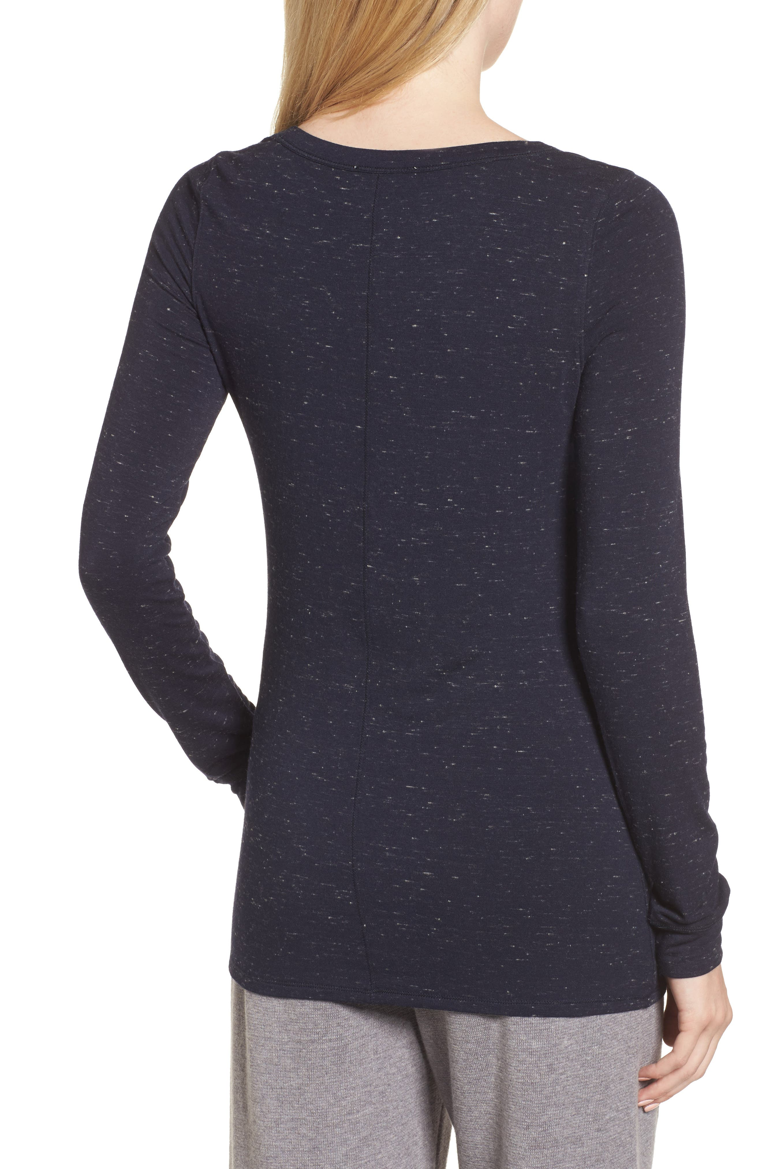 Long Sleeve Slub Knit Tee,                             Alternate thumbnail 2, color,                             Navy- Ivory Speckled Combo