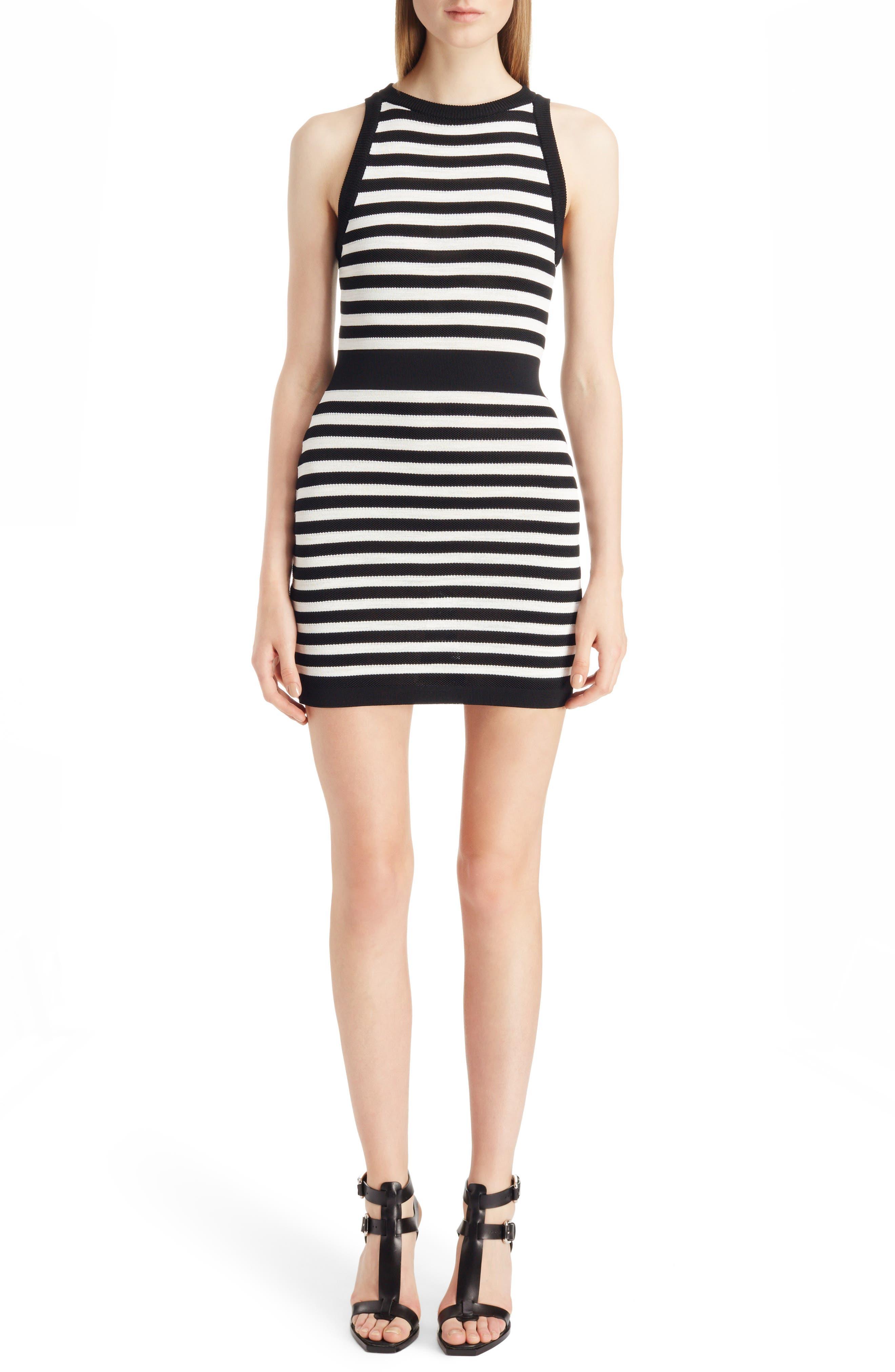 Balmain Stripe Knit Minidress