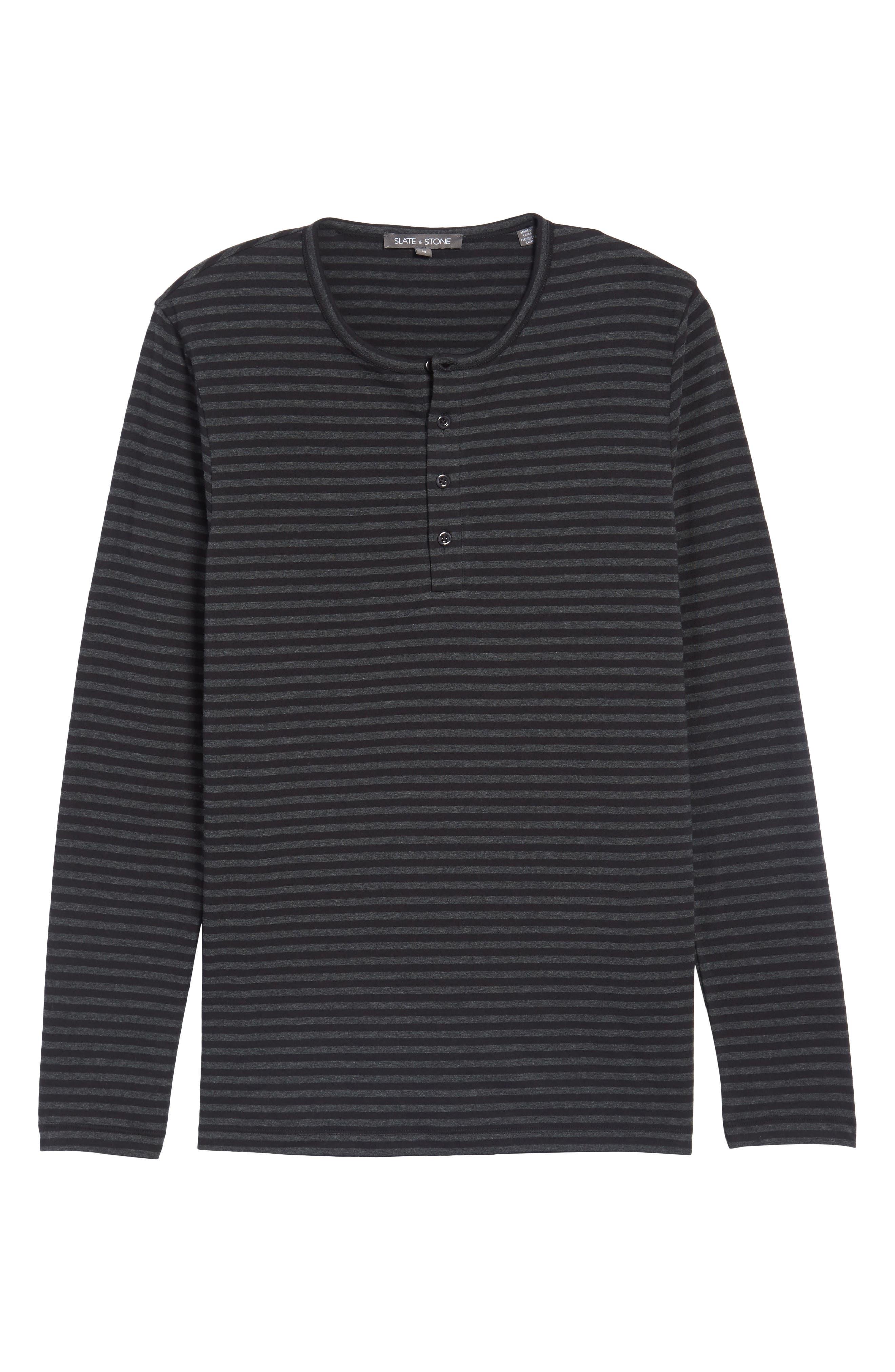 Long Sleeve Henley T-Shirt,                             Alternate thumbnail 6, color,                             Black/ Charcoal Stripe