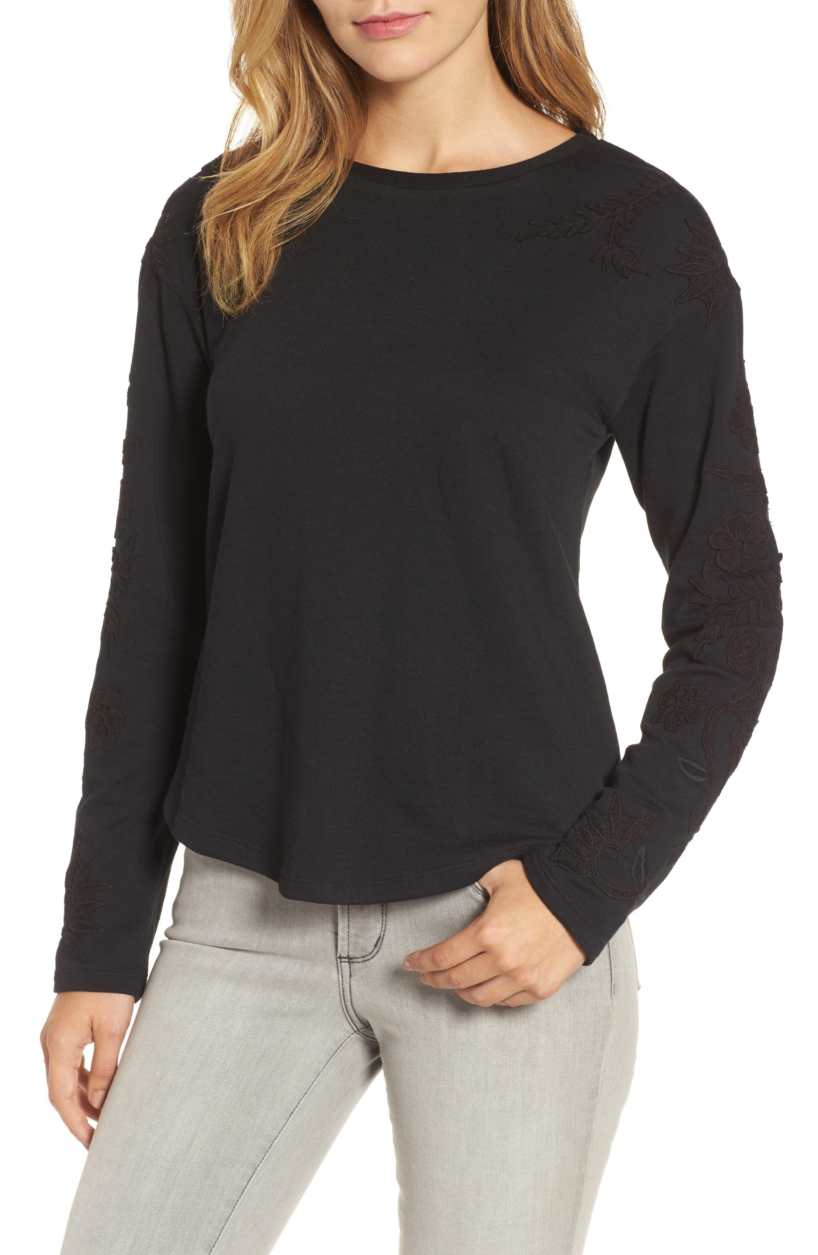 Caslon® Embroidered Sleeve Sweatshirt