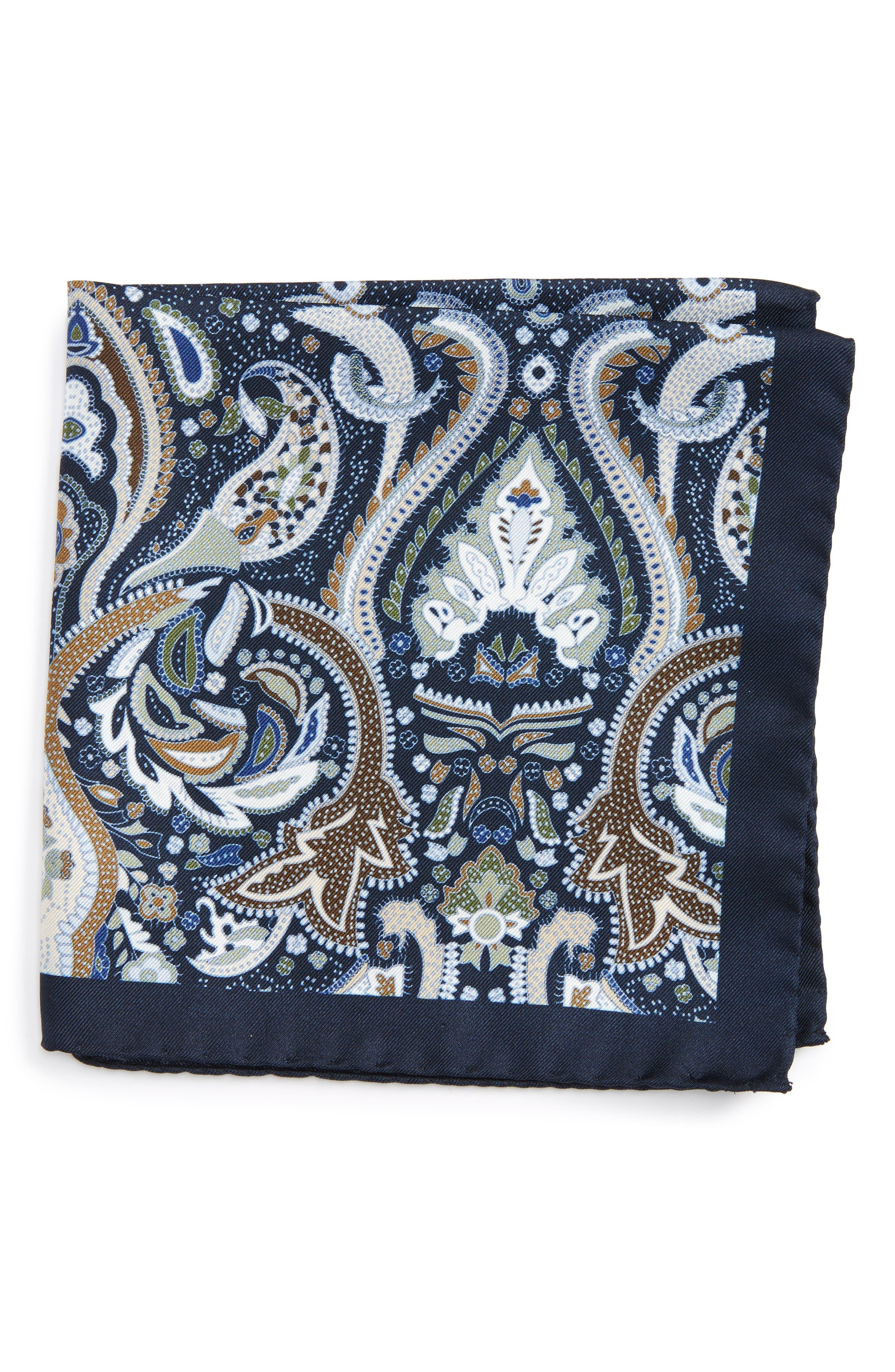 Paisley Silk Pocket Square,                             Main thumbnail 1, color,                             Blue