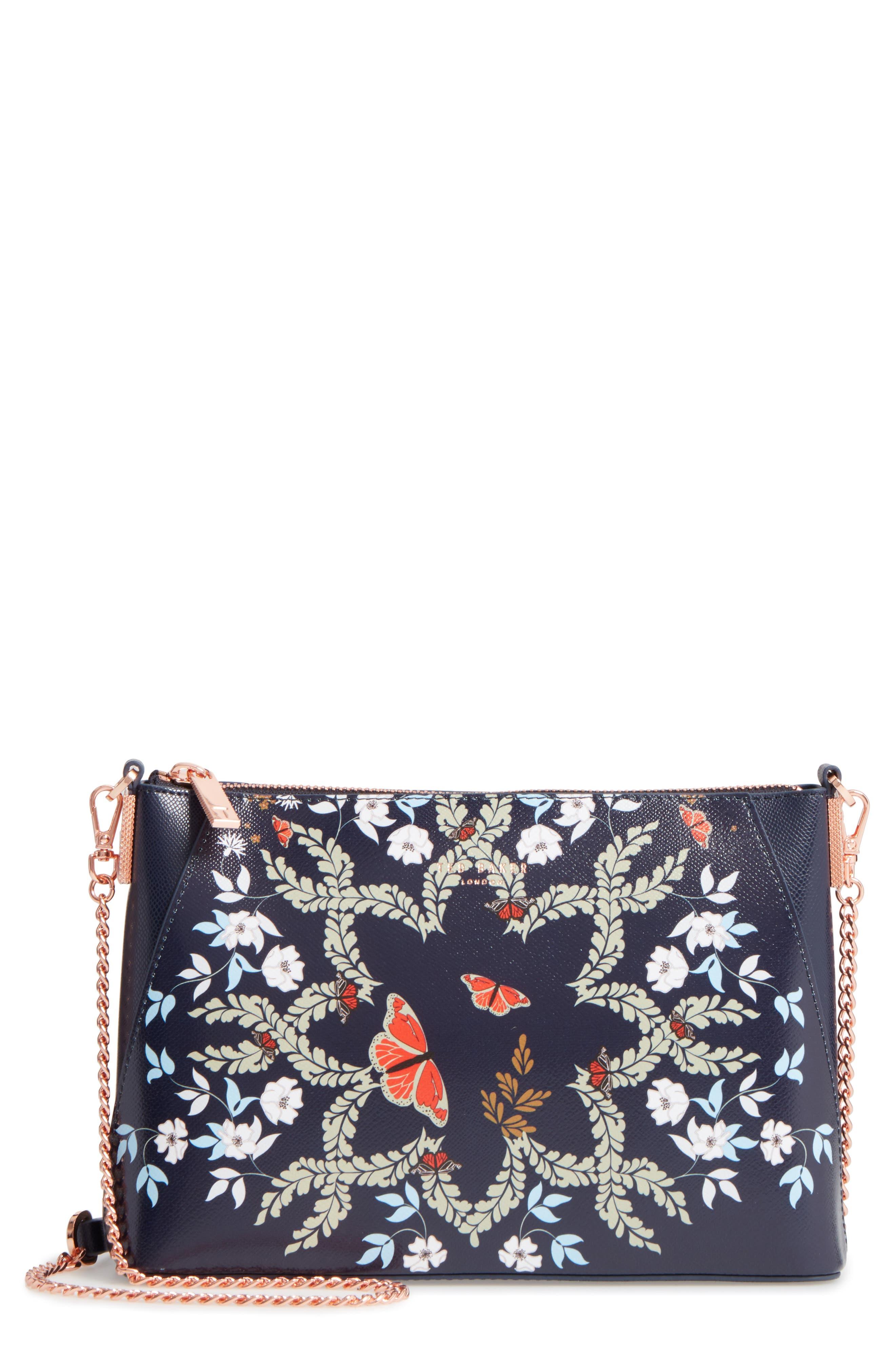 Marisiaa - Kyoto Gardens Leather Crossbody Bag,                             Main thumbnail 1, color,                             Mid Blue