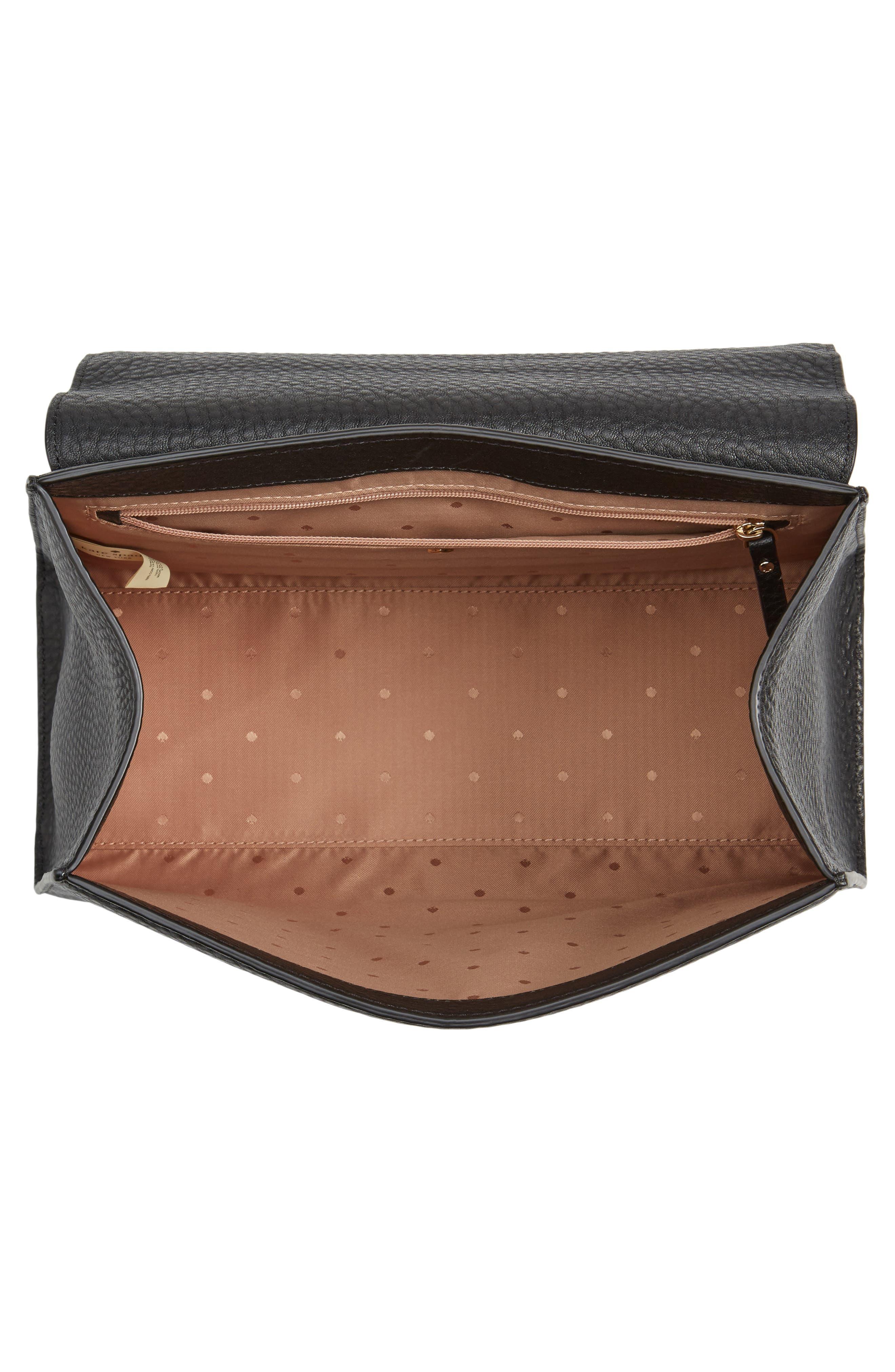 stewart street samira leather top handle satchel,                             Alternate thumbnail 3, color,                             Black