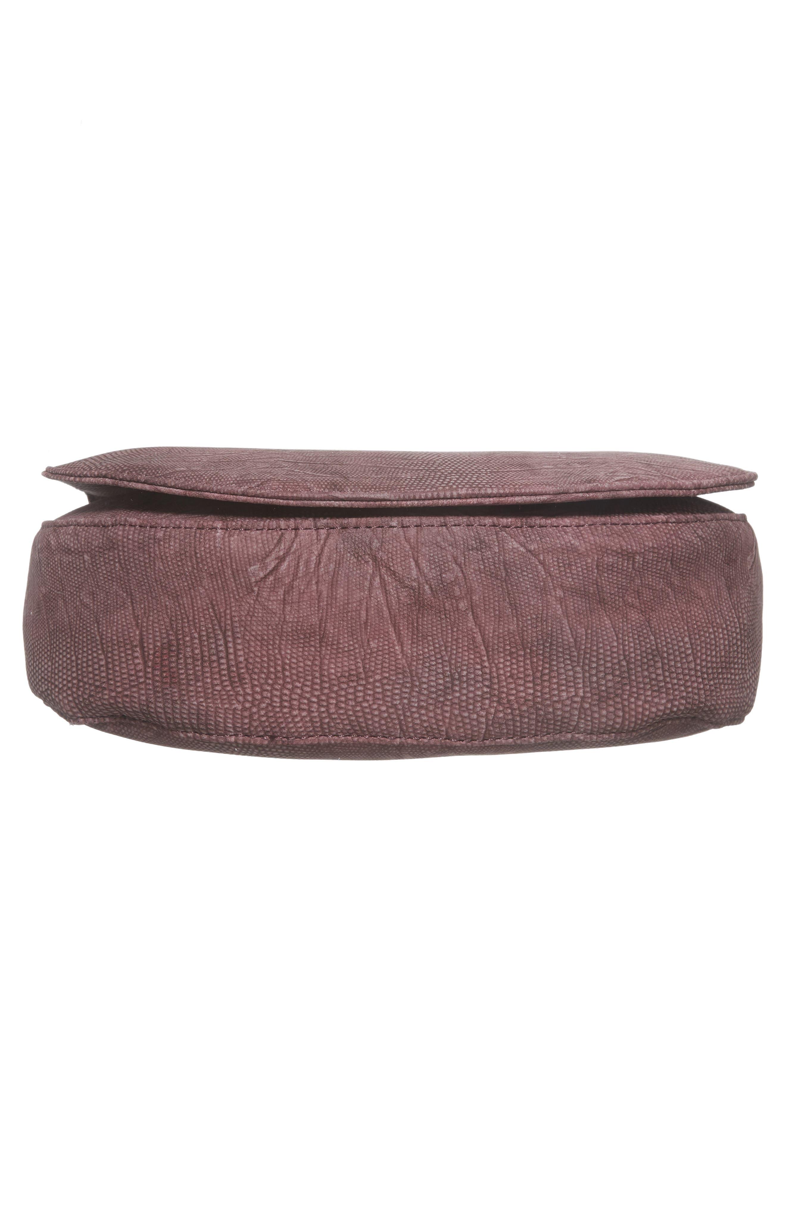 Livvy Faux Leather Crossbody Saddle Bag,                             Alternate thumbnail 6, color,                             Oxblood