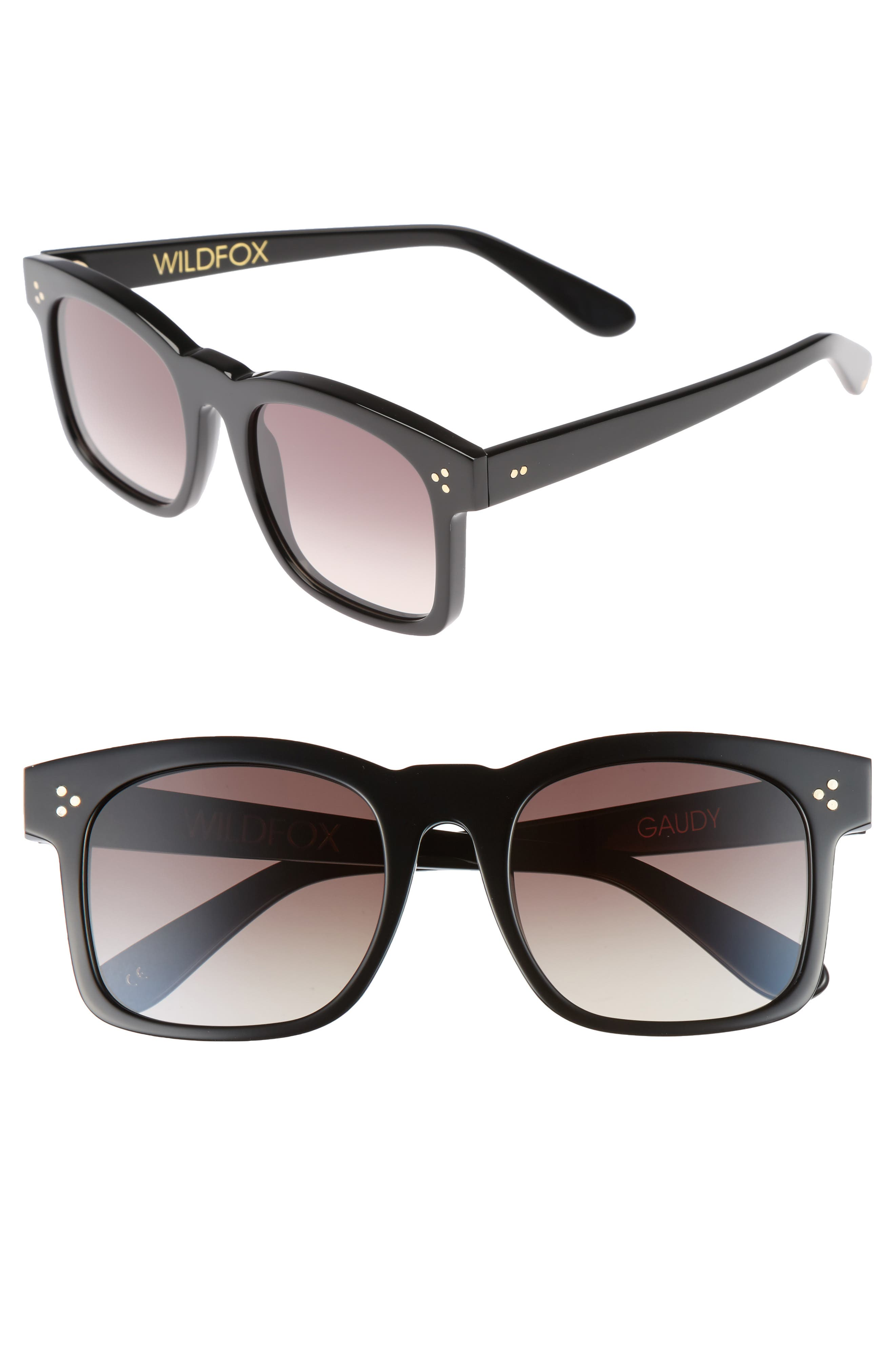Gaudy Zero 51mm Flat Square Sunglasses,                             Main thumbnail 1, color,                             Black