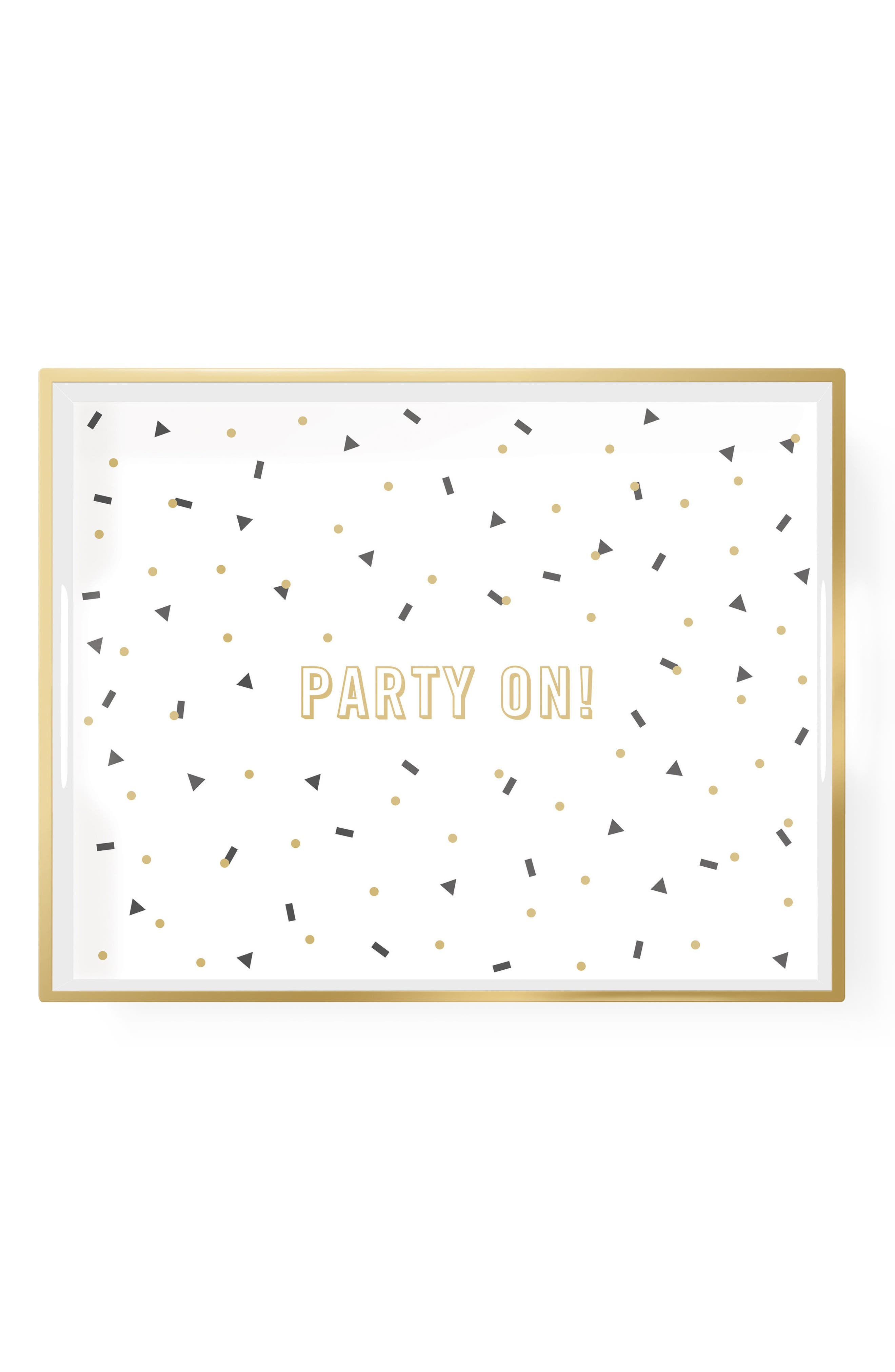 Party On! Lacquered Wooden Tray,                         Main,                         color, White