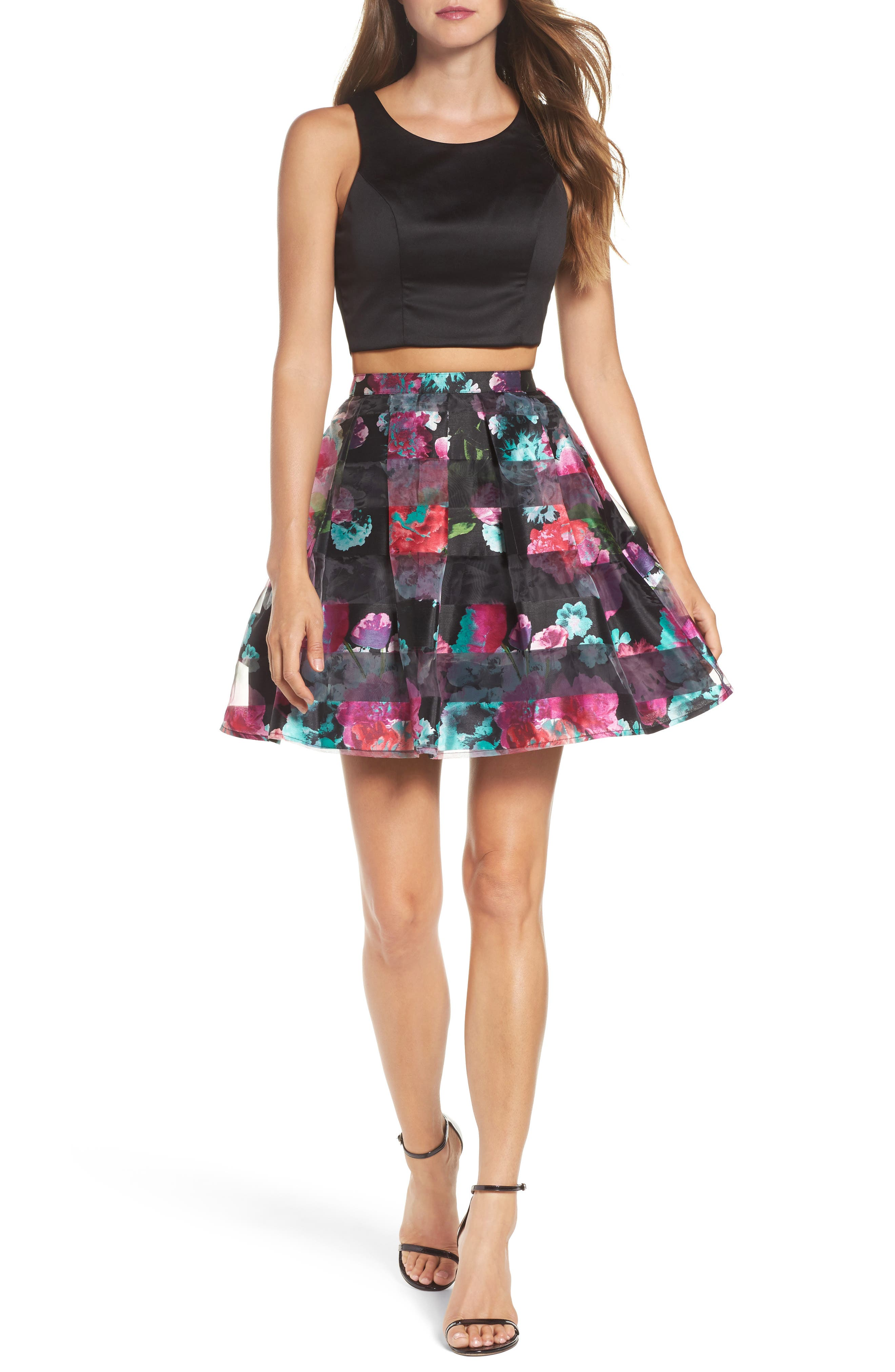 Printed Shadow Skirt Two-Piece Fit & Flare Dress,                         Main,                         color, Black/ Magenta