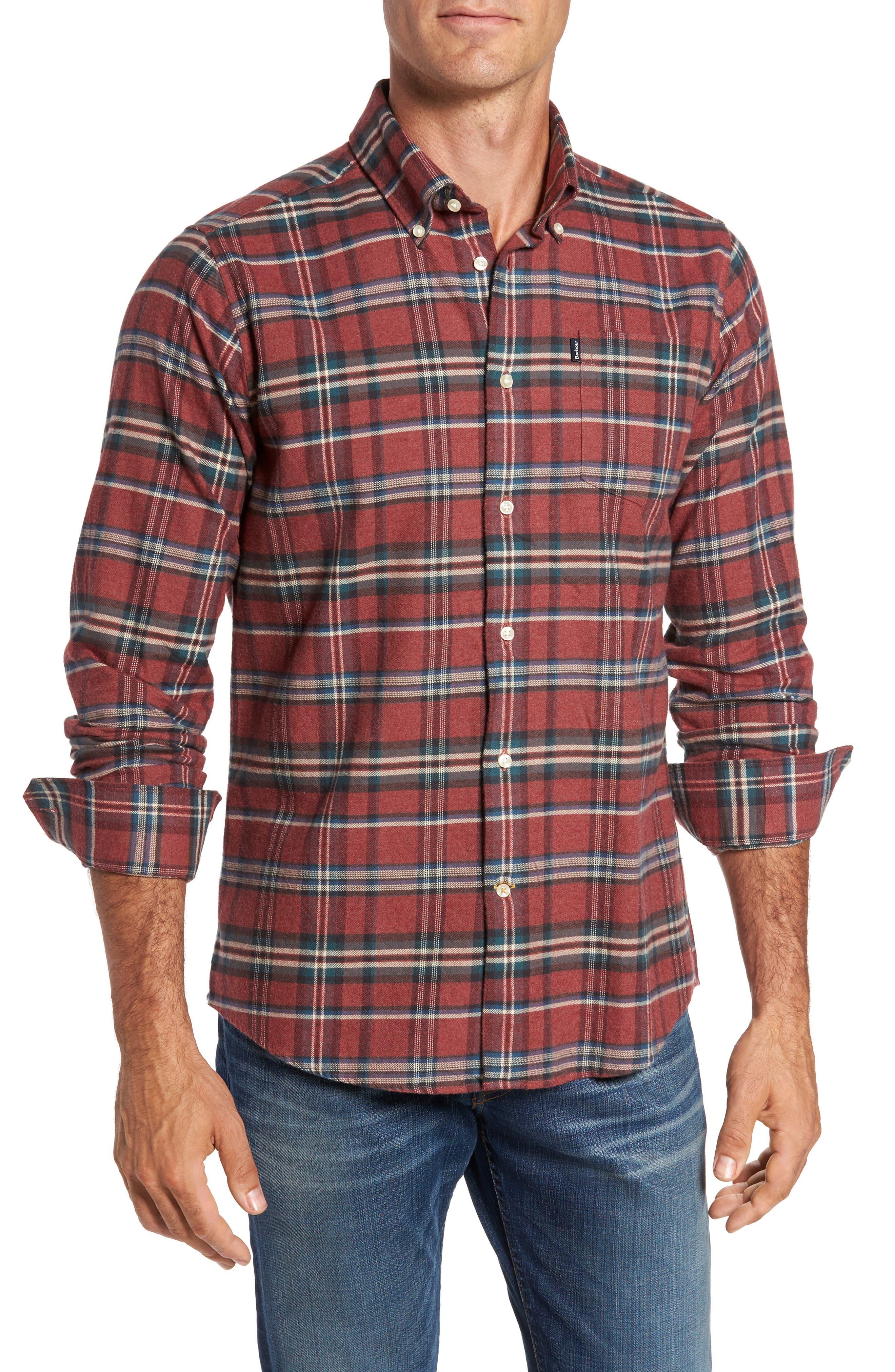 Barbour Blane Regular Fit Plaid Sport Shirt